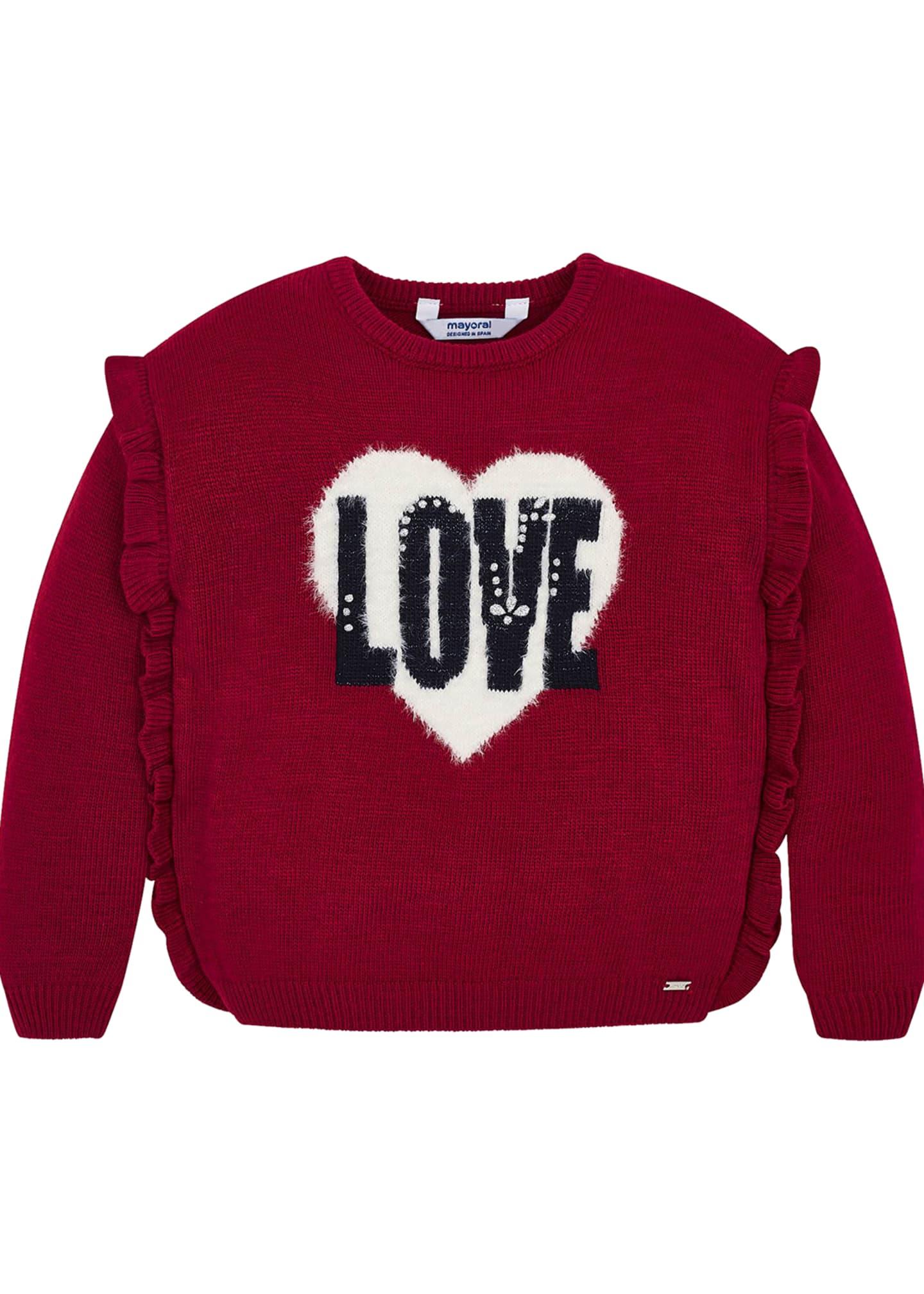 Mayoral Girl's Love Ruffle Trim Sweater, Size 4-7