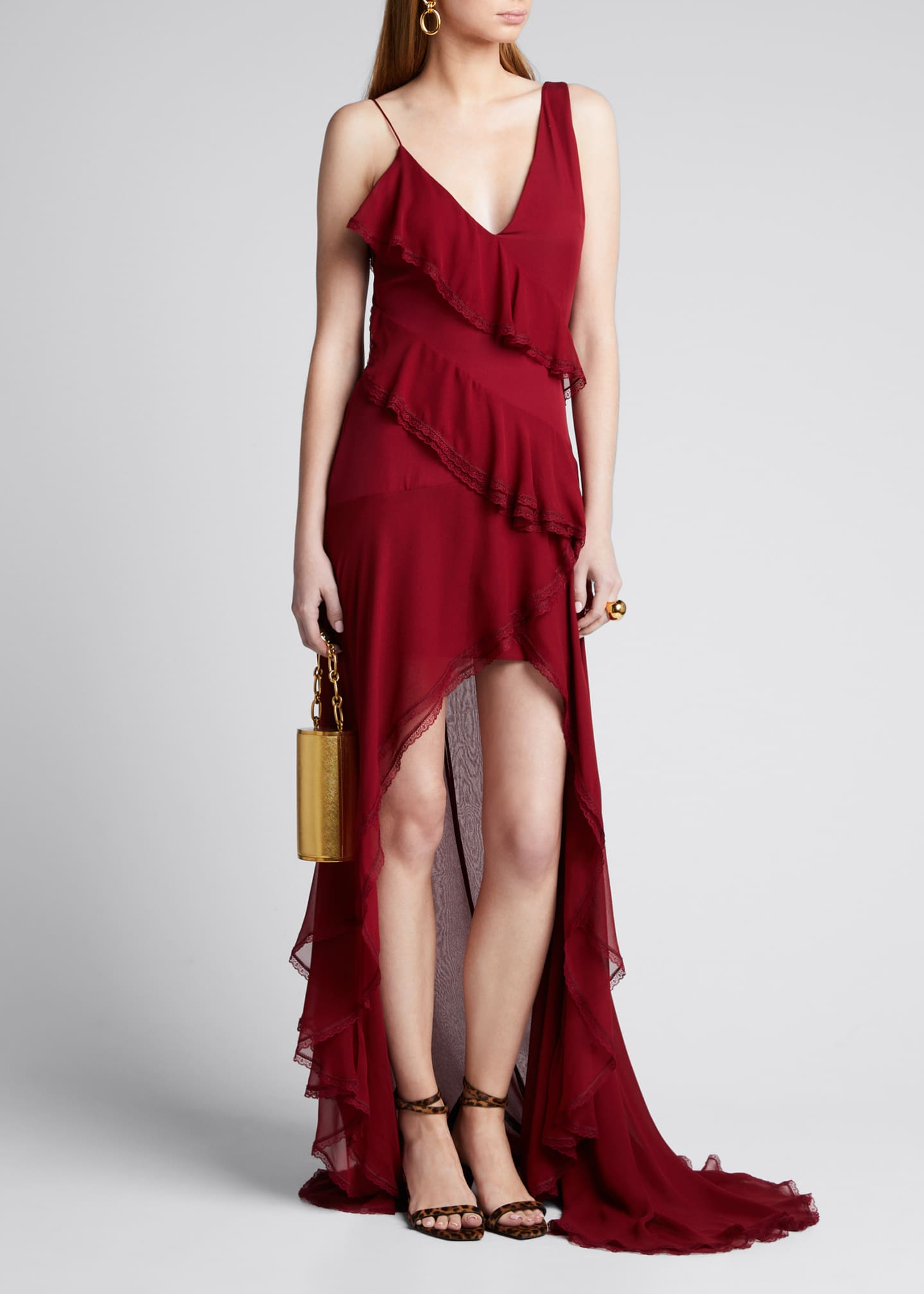 Alice + Olivia Mariana High-Low Tiered Ruffle Gown