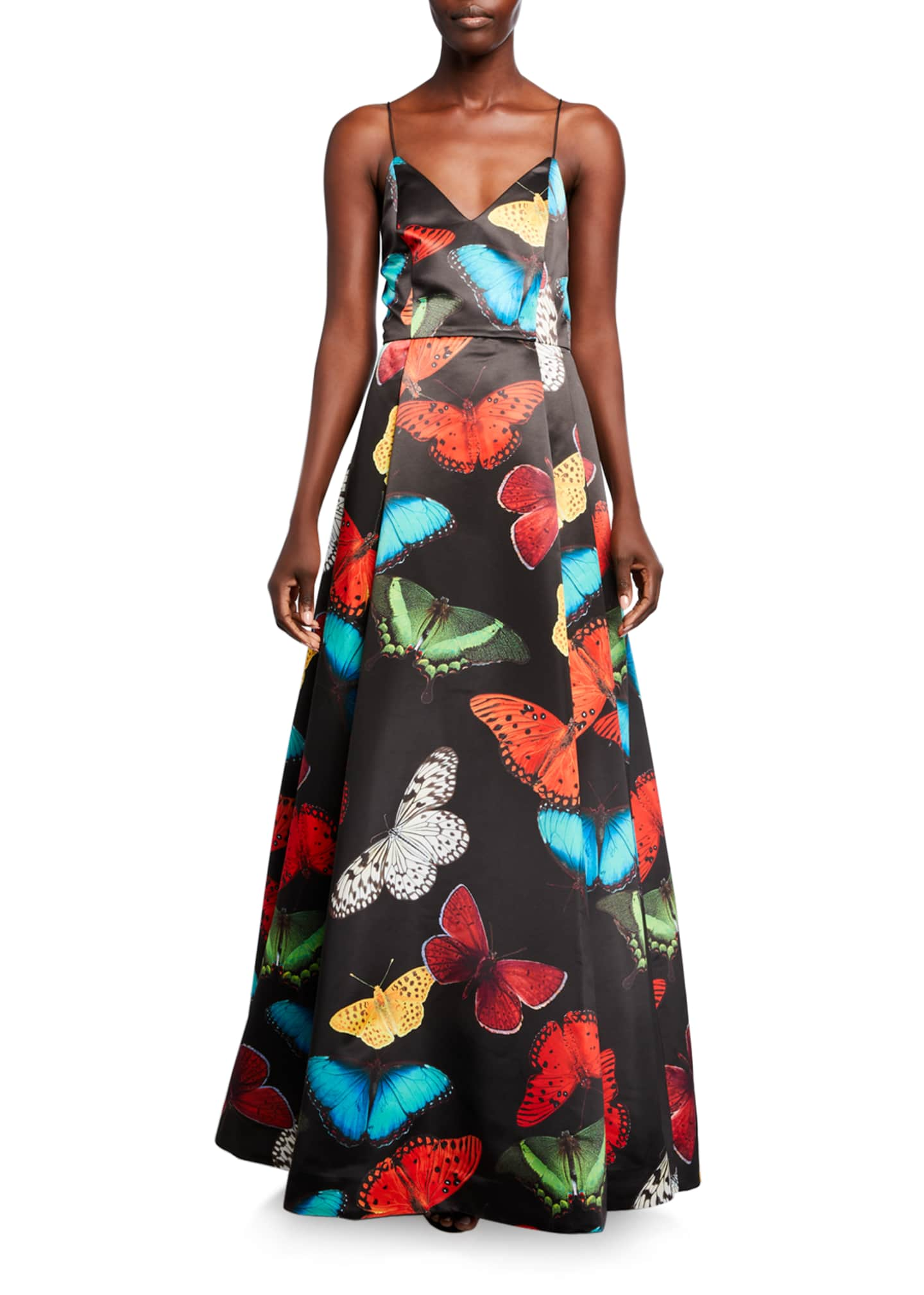 Alice + Olivia Joss Butterfly V-Neck Pleated Gown