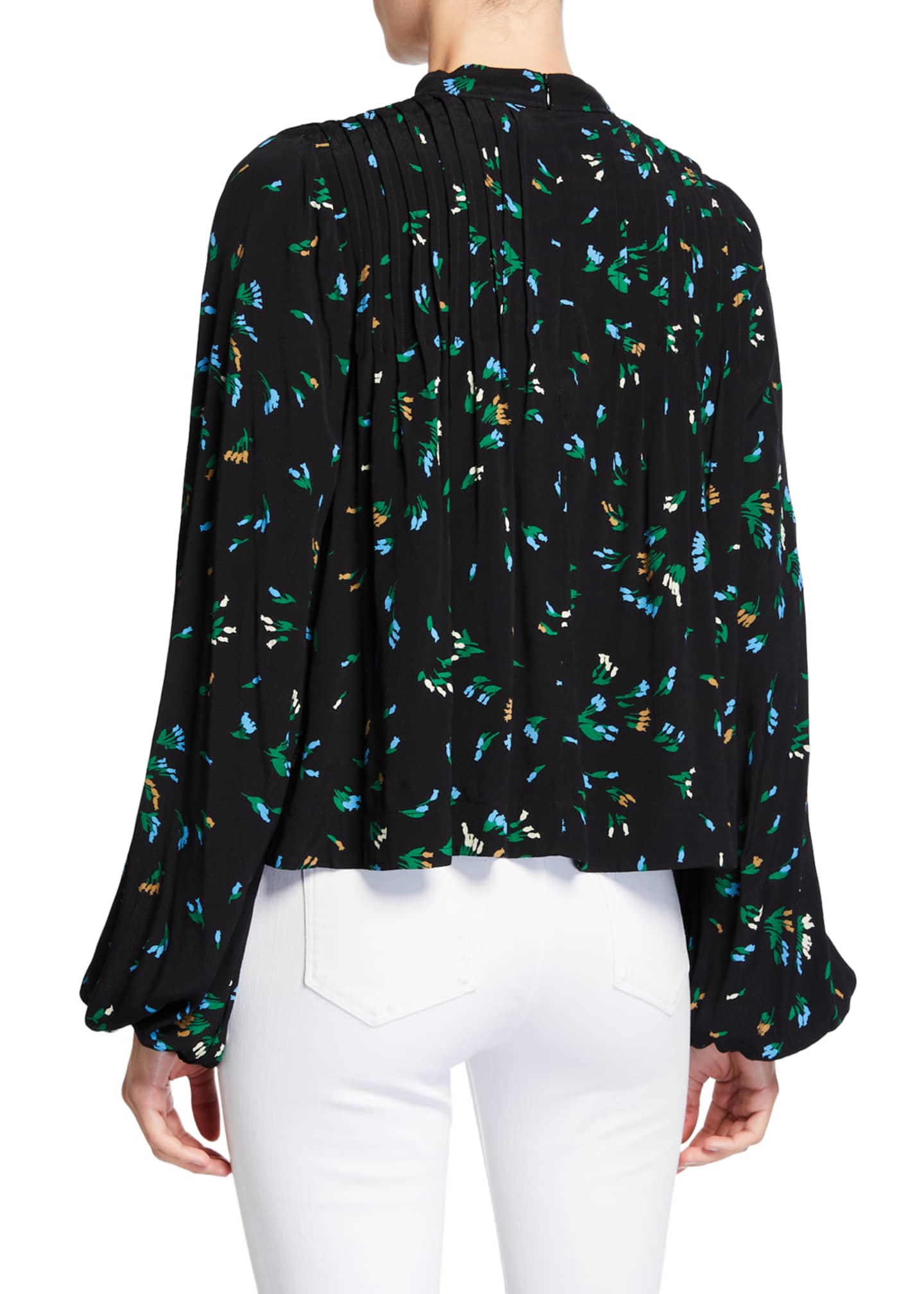 Image 2 of 2: Floral-Print Pleated Crepe Top