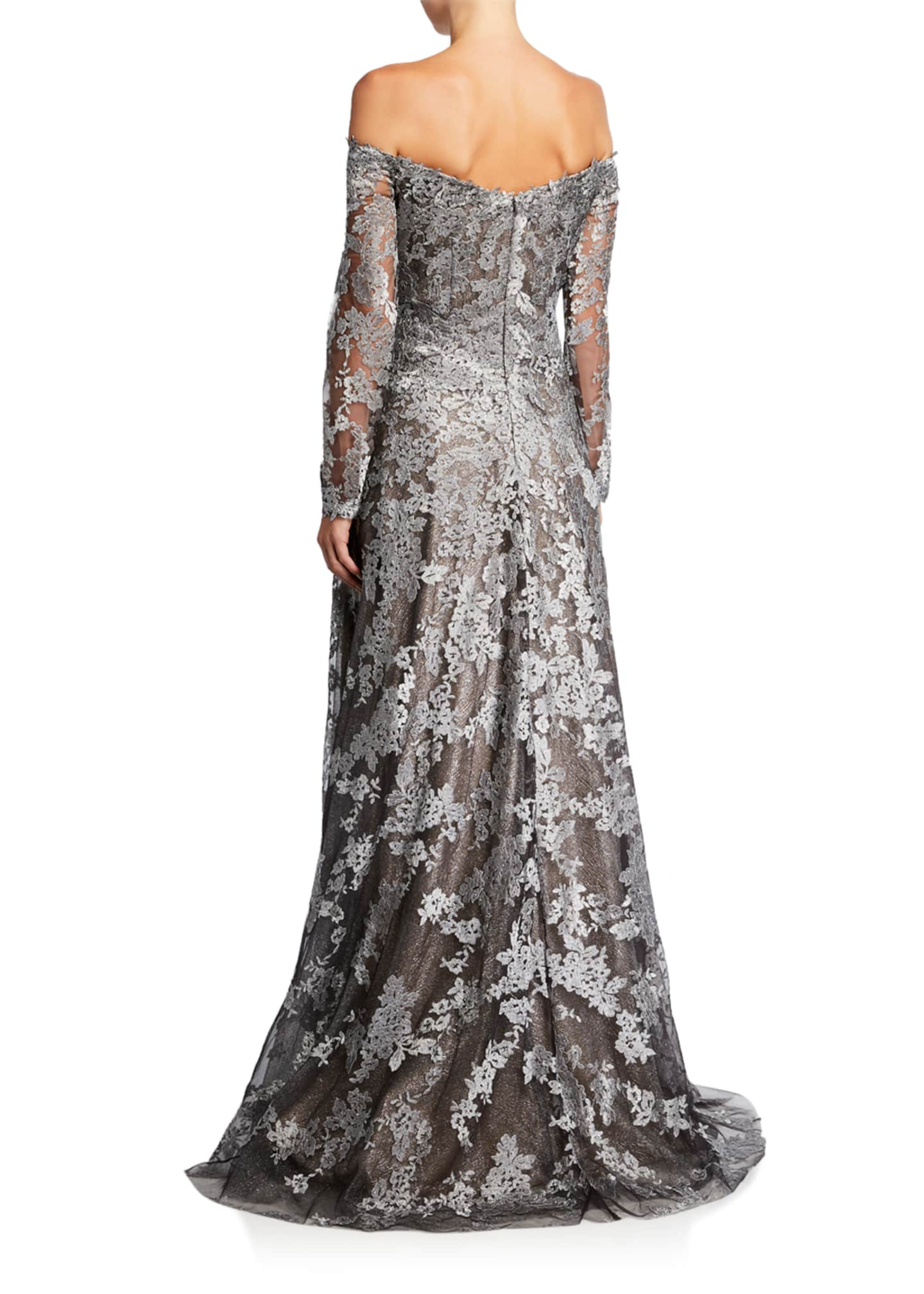 Image 2 of 2: Off-the-Shoulder Long-Sleeve Lace Gown