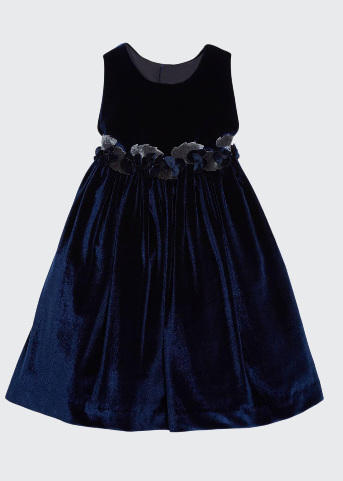 Isabel Garreton Sleeveless Velvet Dress With Rose Trim