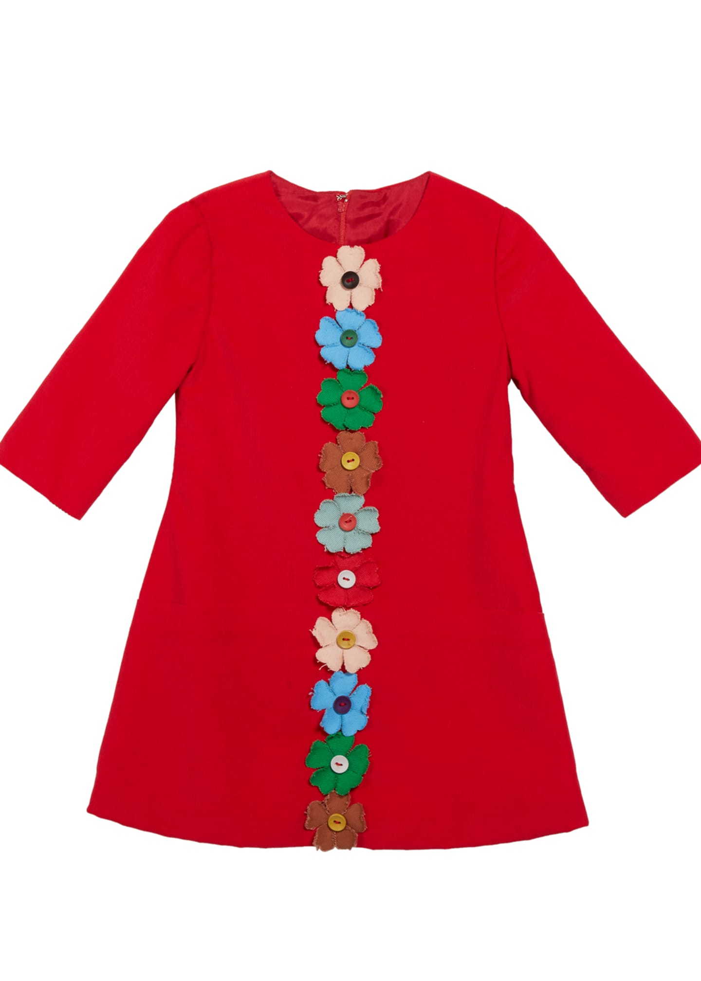 Isabel Garreton Flower-Embellished Corduroy Dress, Size 4-6