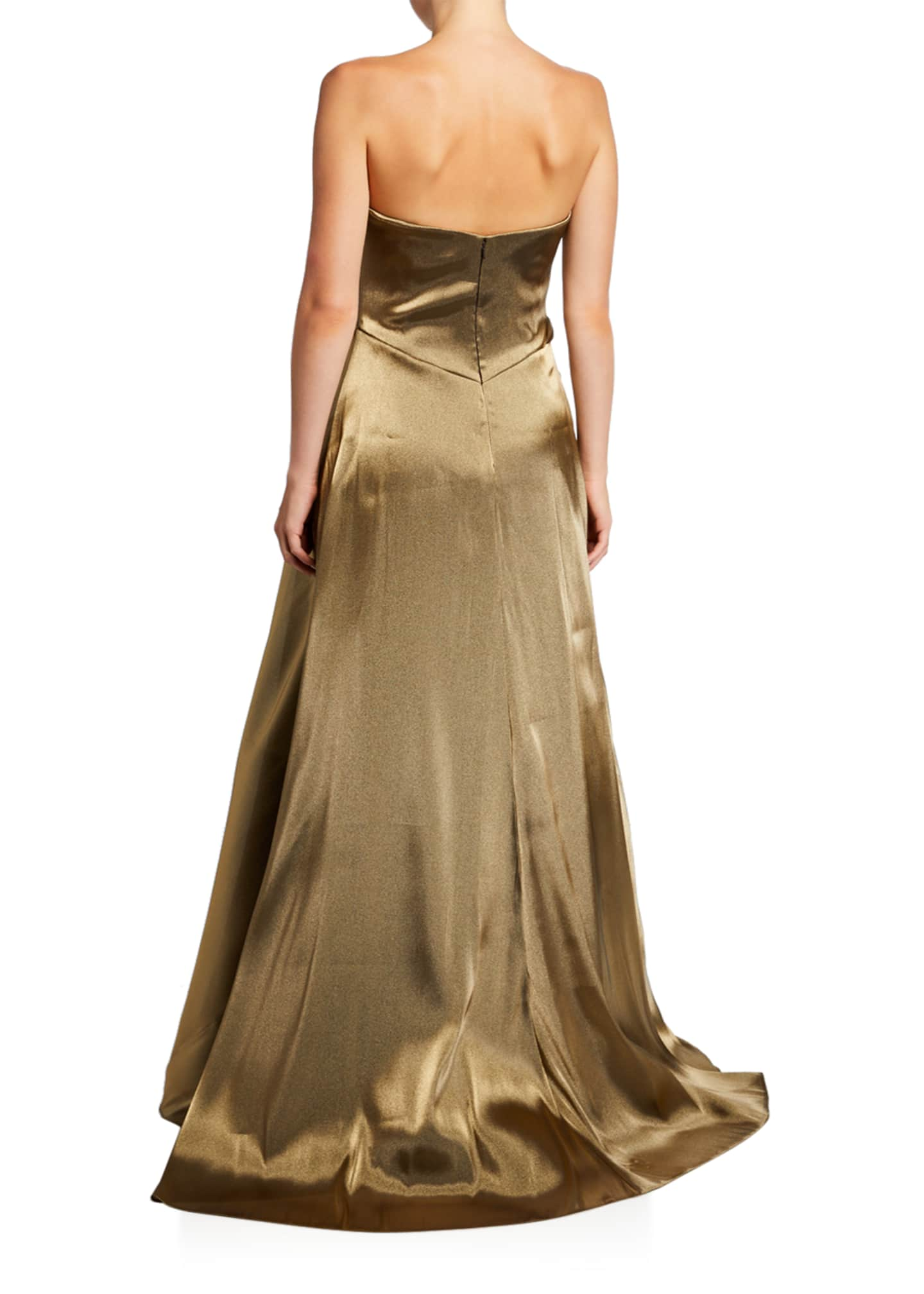 Image 2 of 2: Strapless Metallic Bustier Gown