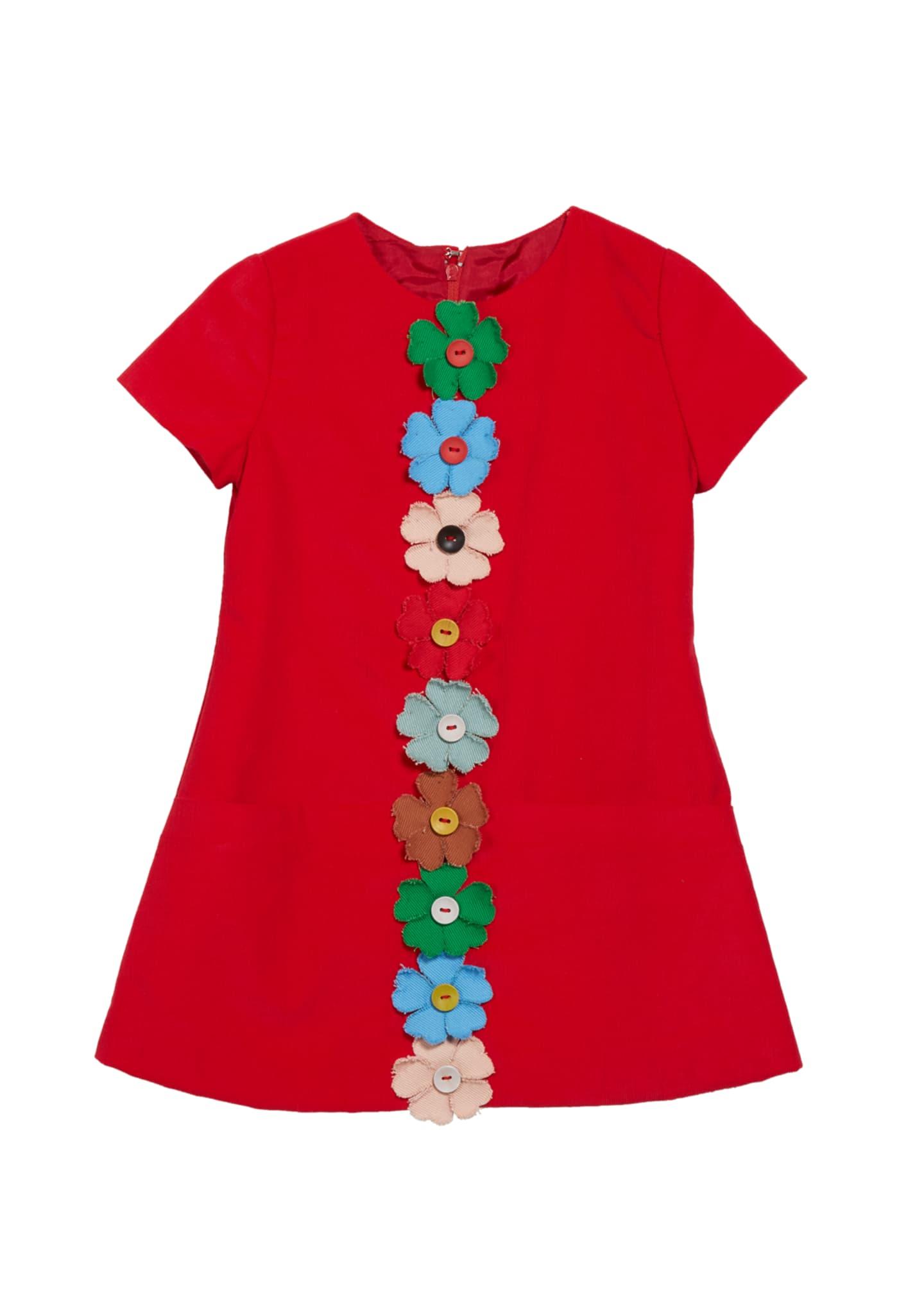 Isabel Garreton Flower-Embellished Corduroy Dress, Size 2-4T