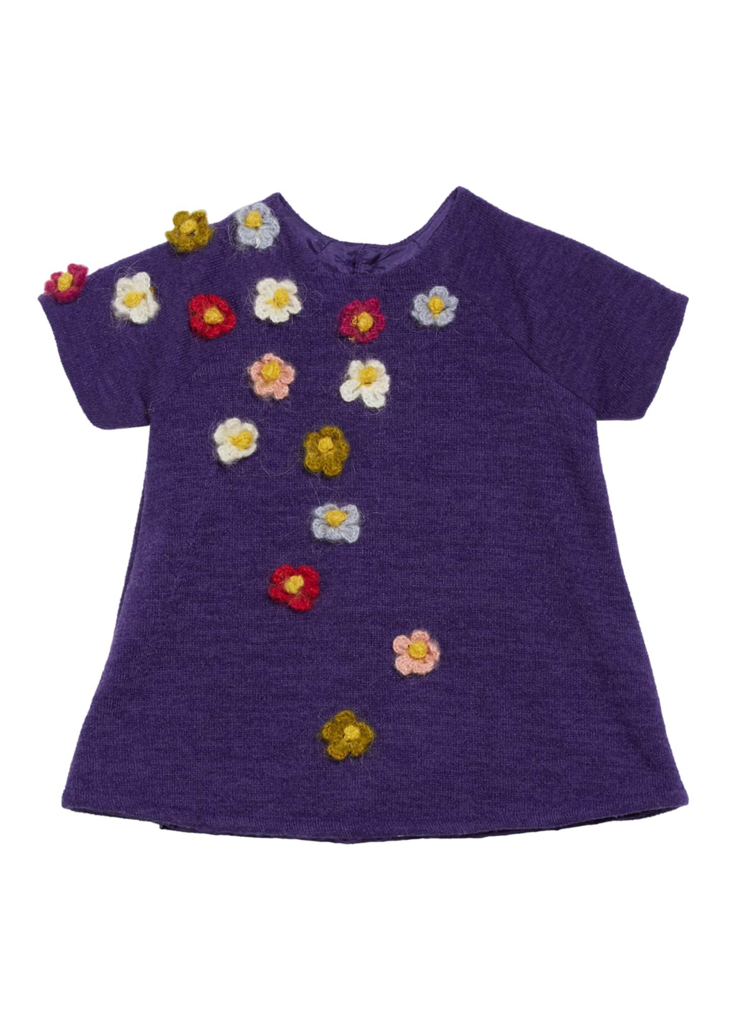 Isabel Garreton Flower Crocheted Knit Shift Dress, Size