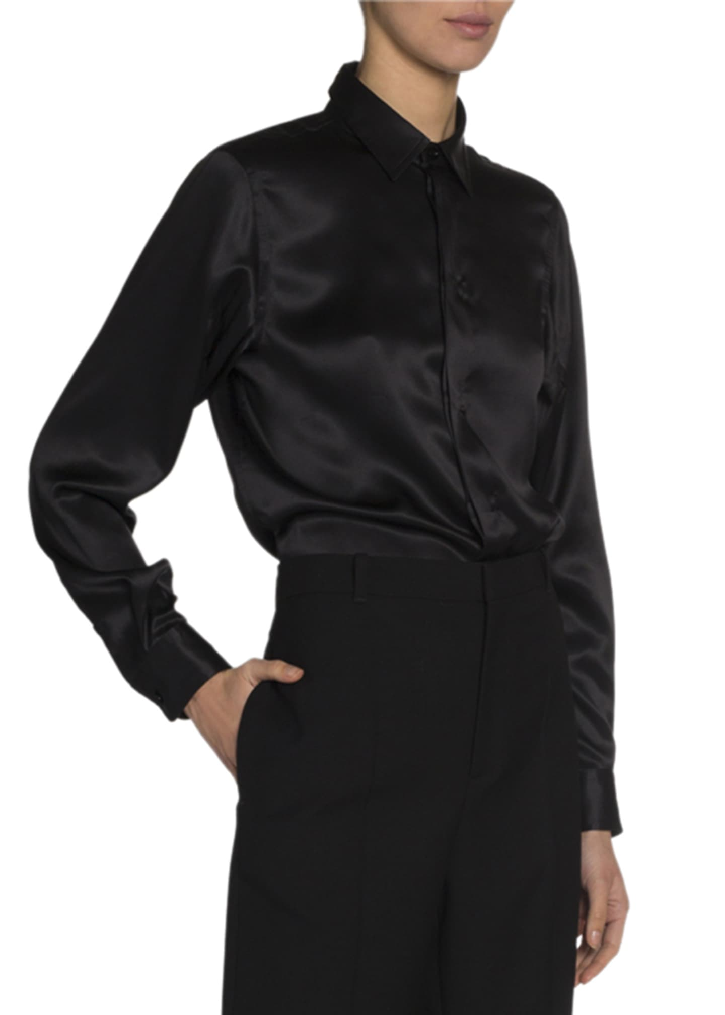 Silk Satin Button Front Shirt by Balenciaga