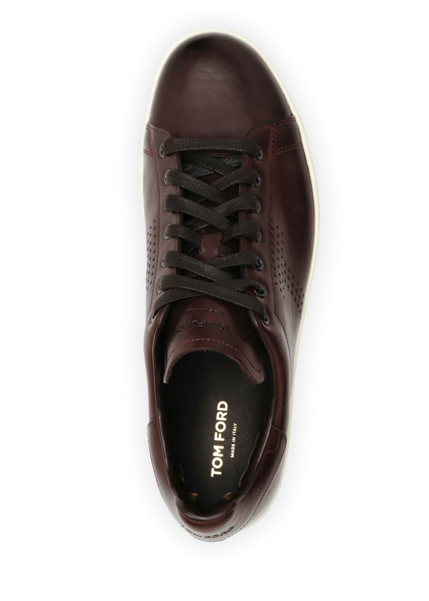 Image 2 of 4: Men's Smooth Leather Cup-Sole Sneakers