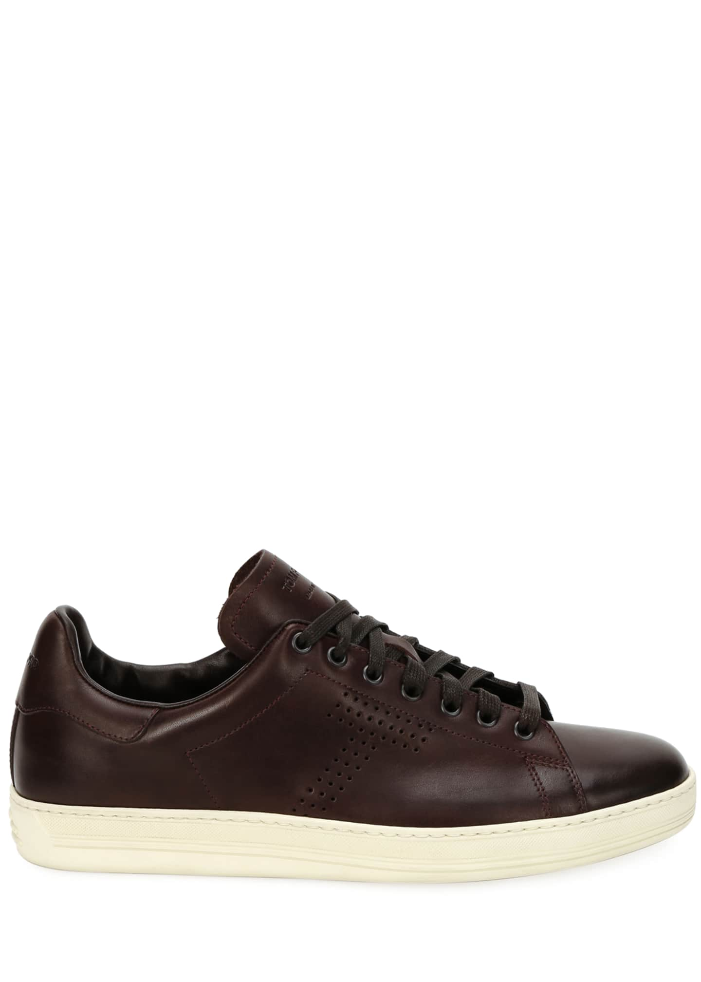 Image 3 of 4: Men's Smooth Leather Cup-Sole Sneakers