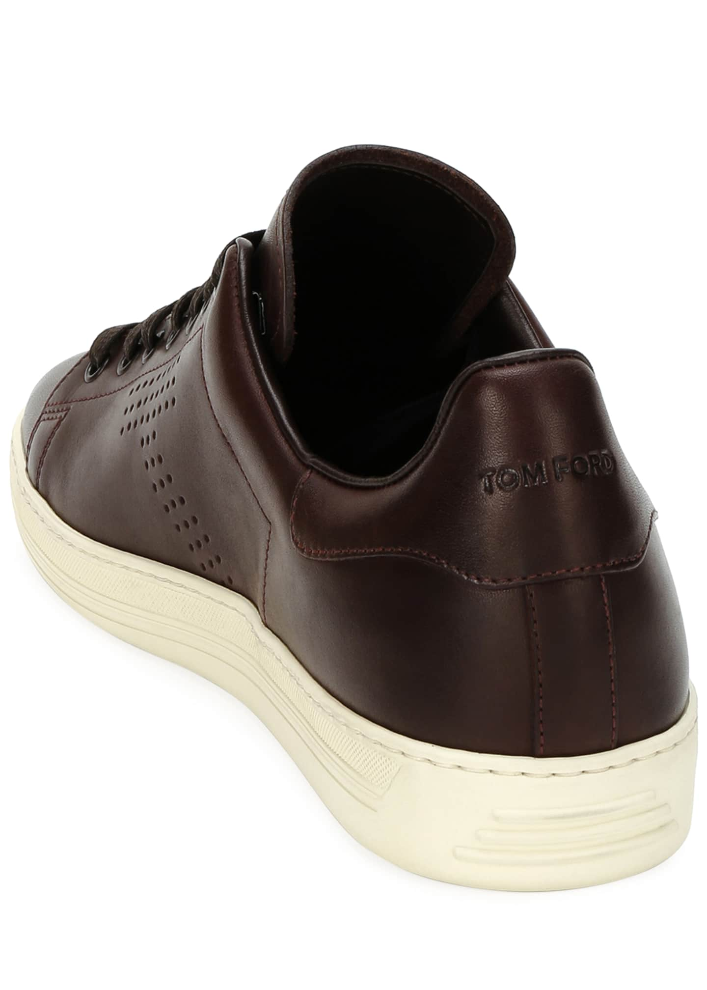 Image 4 of 4: Men's Smooth Leather Cup-Sole Sneakers
