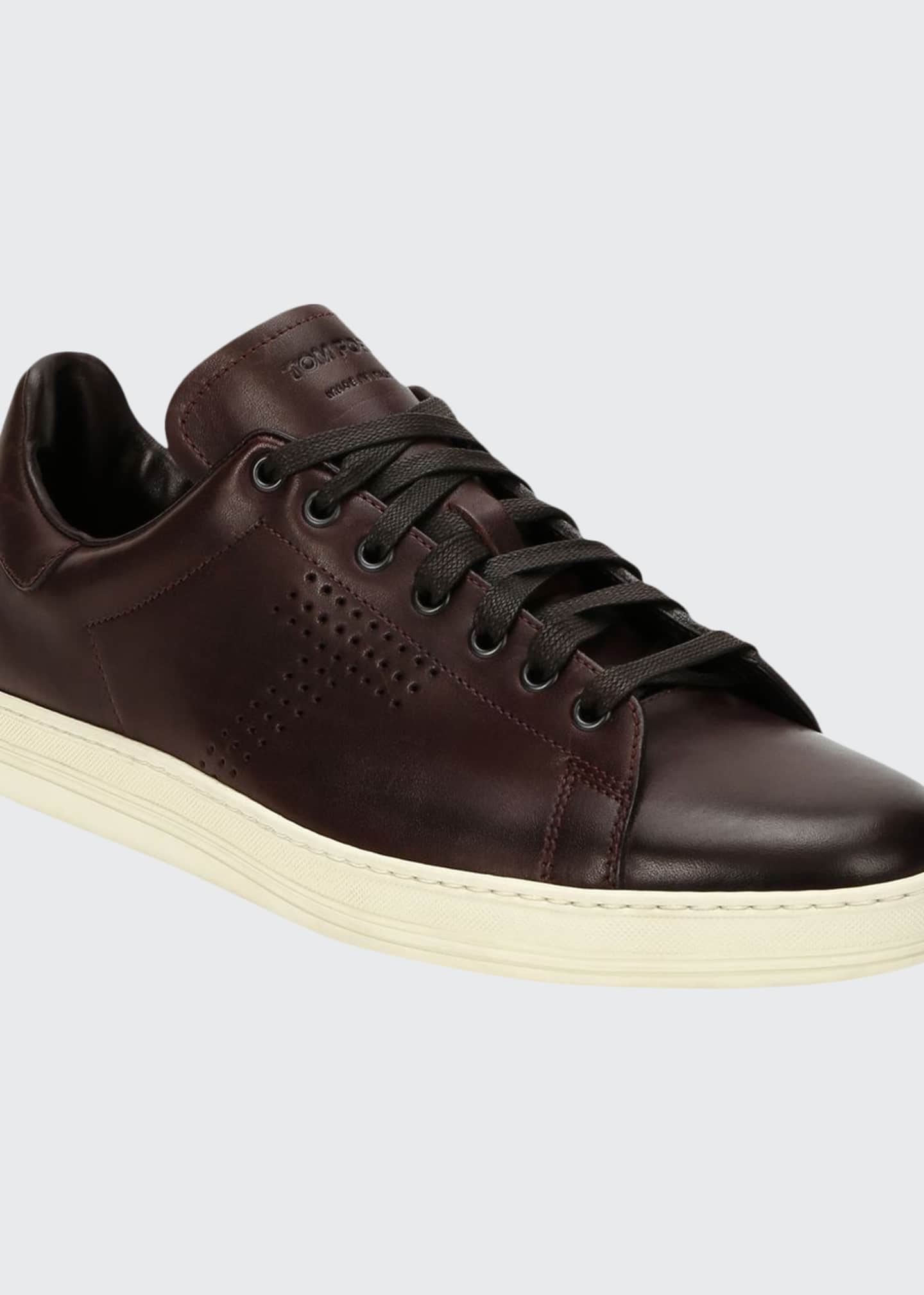 Image 1 of 4: Men's Smooth Leather Cup-Sole Sneakers