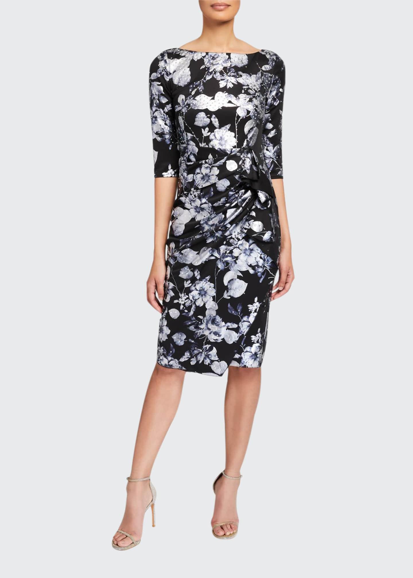 Jovani Stone Embellished Floral 3/4-Sleeve Dress w/ Drape