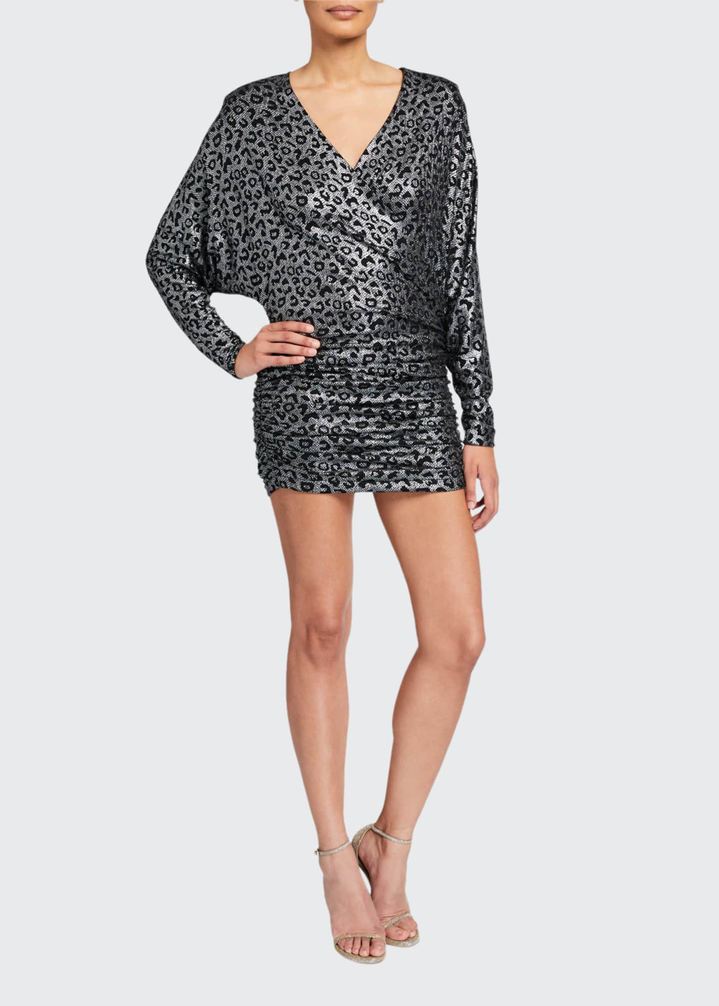 Jovani Metallic Animal-Print V-Neck Long-Sleeve Shirred Dress