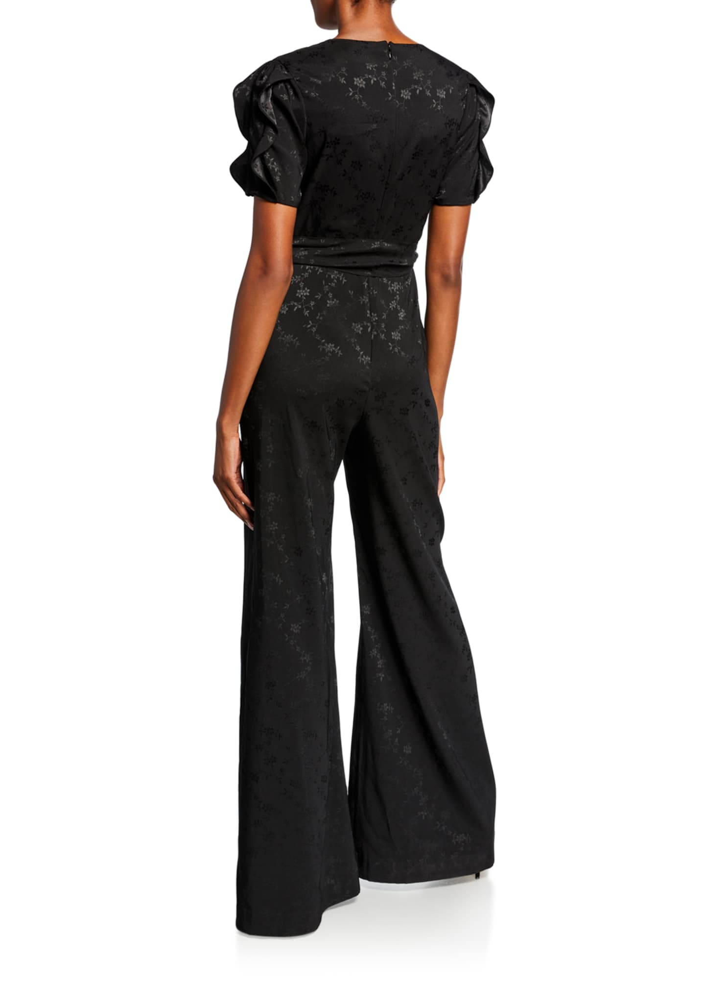 Image 2 of 2: Flared Jacquard Ruffle Jumpsuit