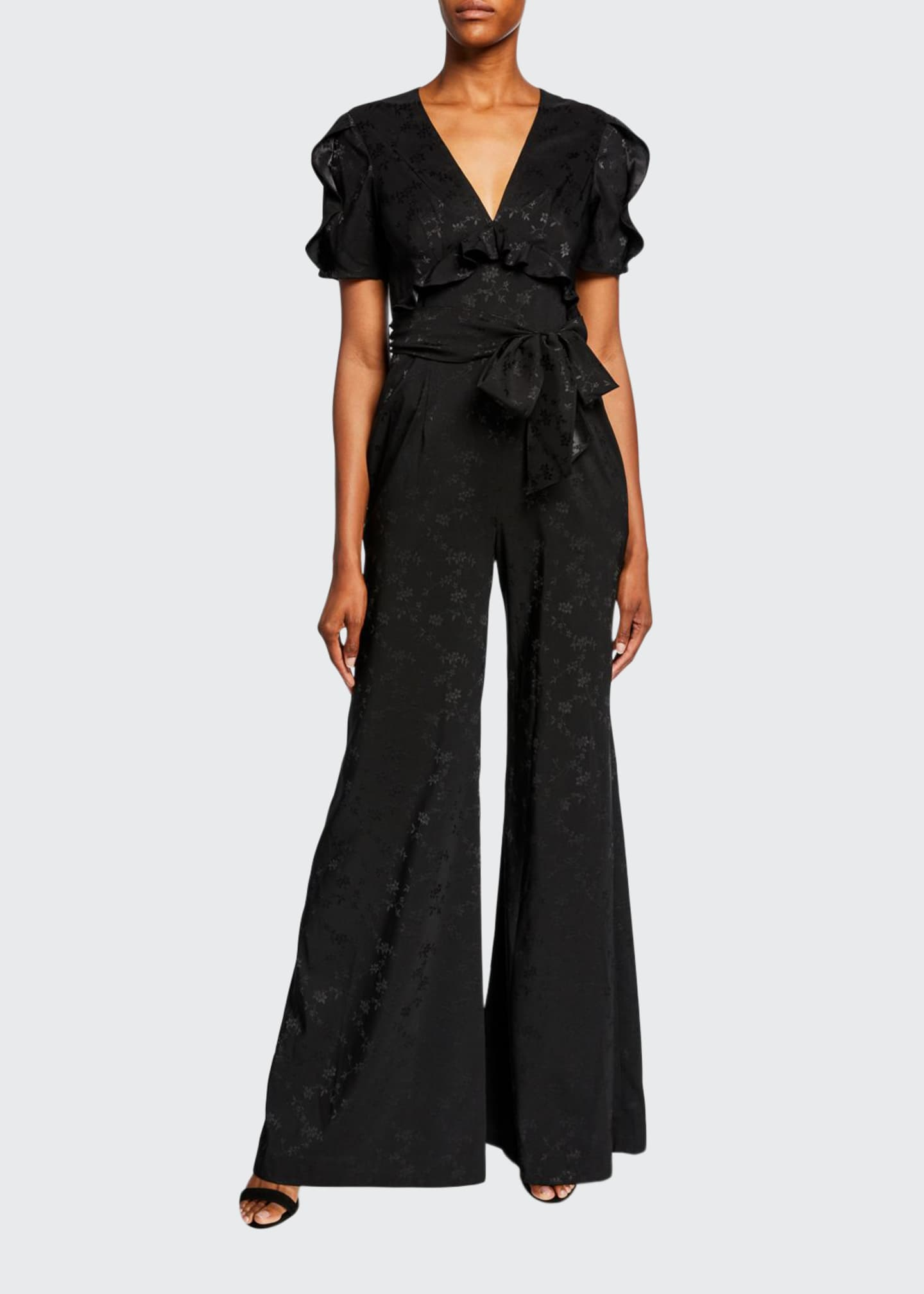 Image 1 of 2: Flared Jacquard Ruffle Jumpsuit