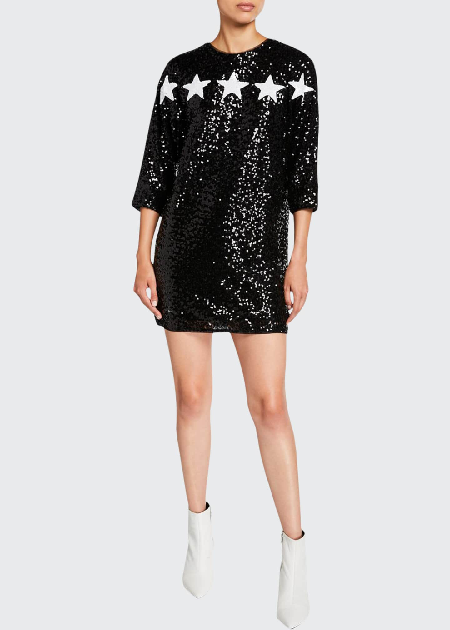 Aidan by Aidan Mattox Star Applique 3/4-Sleeve Sequin