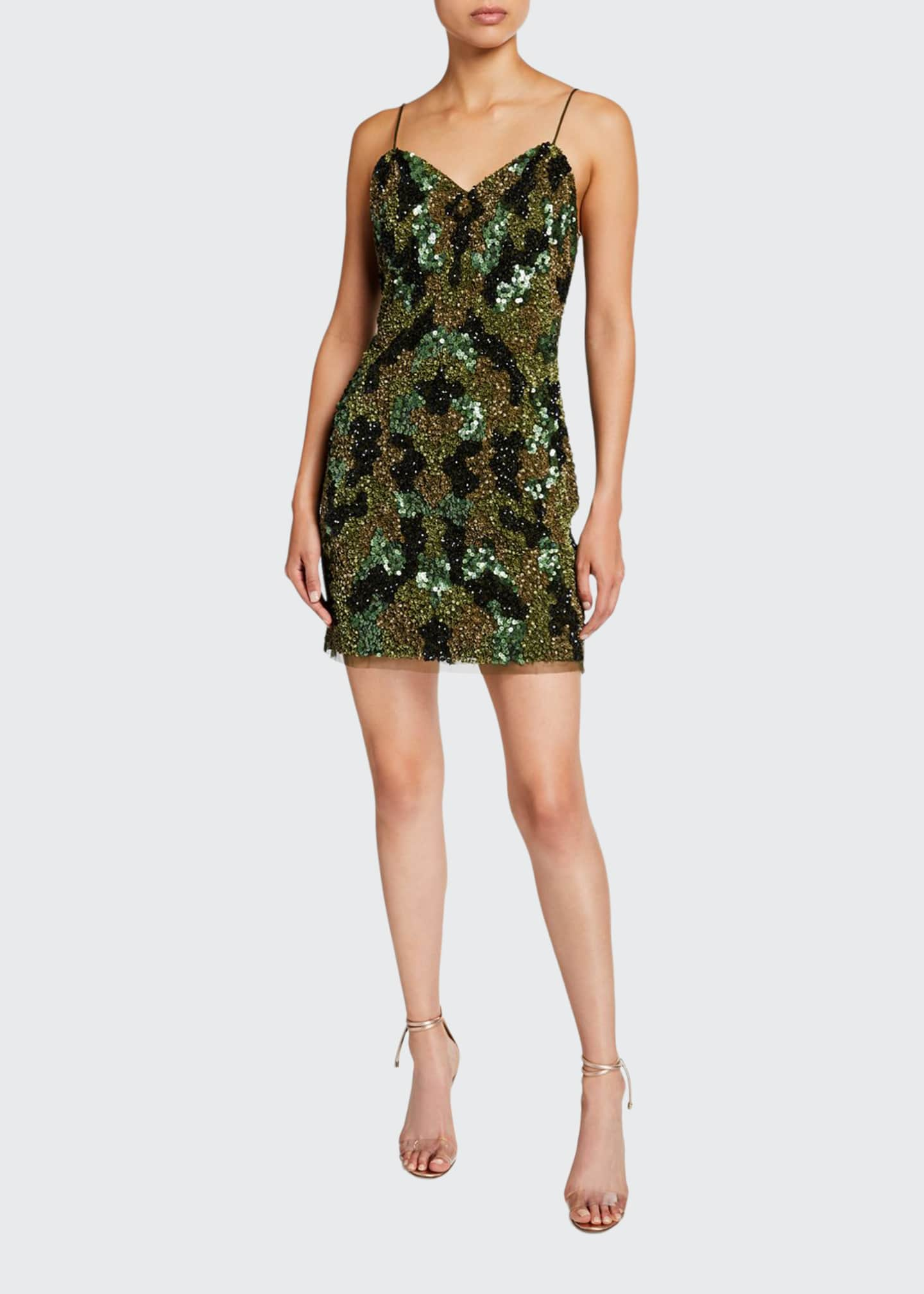 Aidan by Aidan Mattox Camo Sequin Sweetheart Mini
