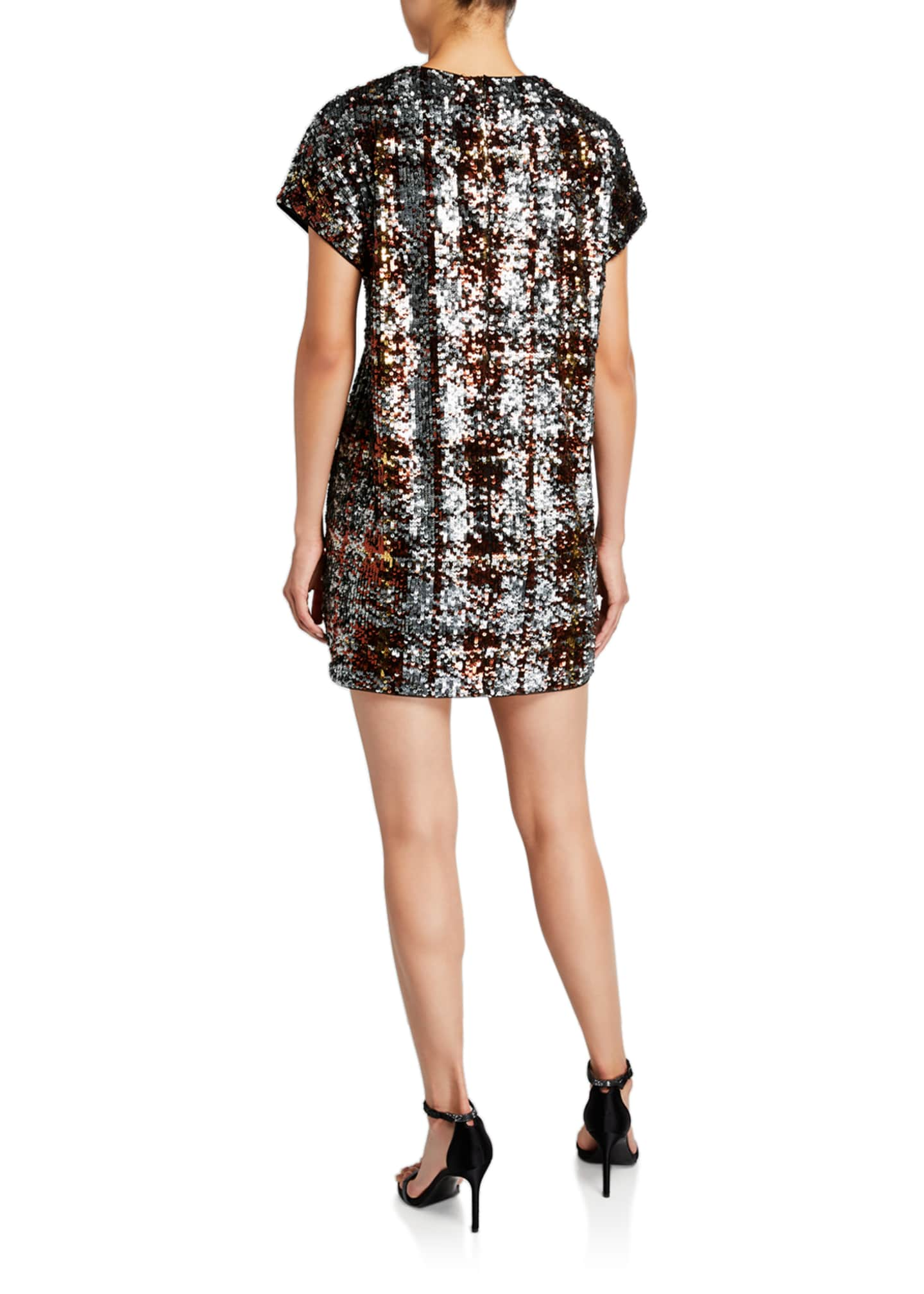 Image 2 of 2: Plaid Sequin Cap-Sleeve Shift Dress