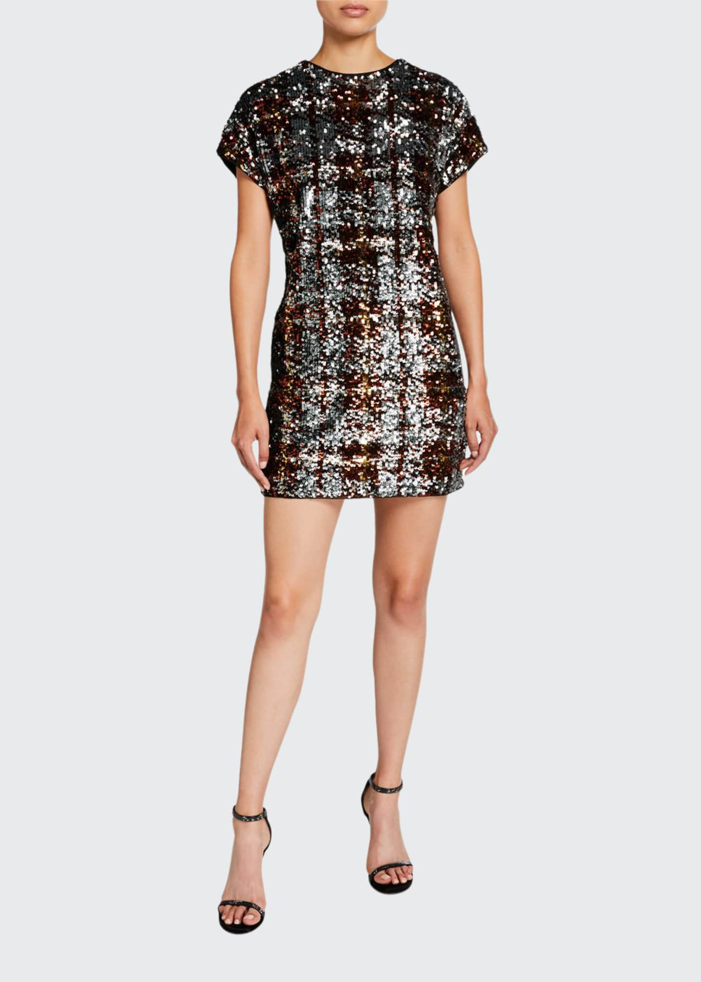 Image 1 of 2: Plaid Sequin Cap-Sleeve Shift Dress