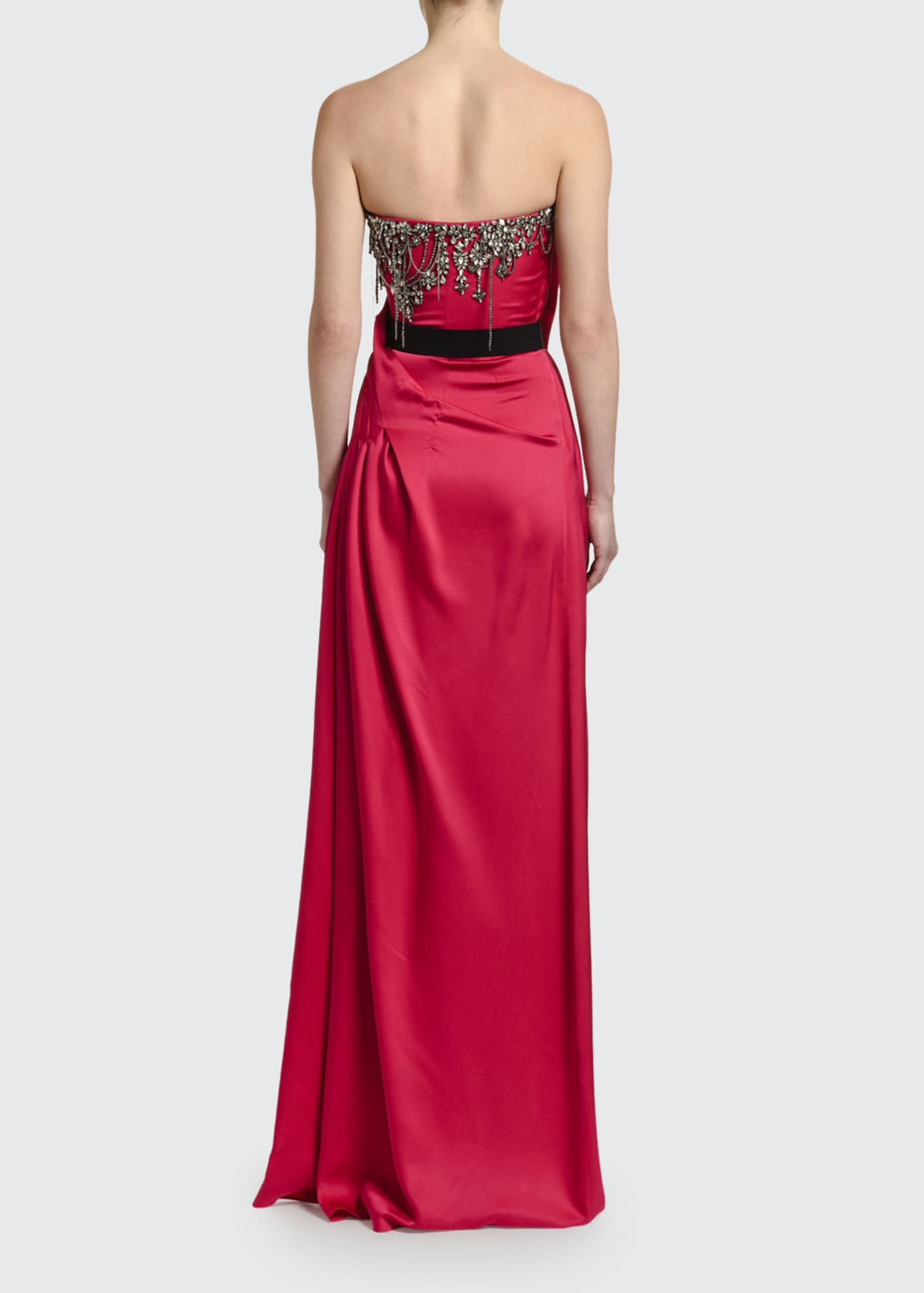 Image 2 of 3: Strapless Silk Embroidered-Bust Gown