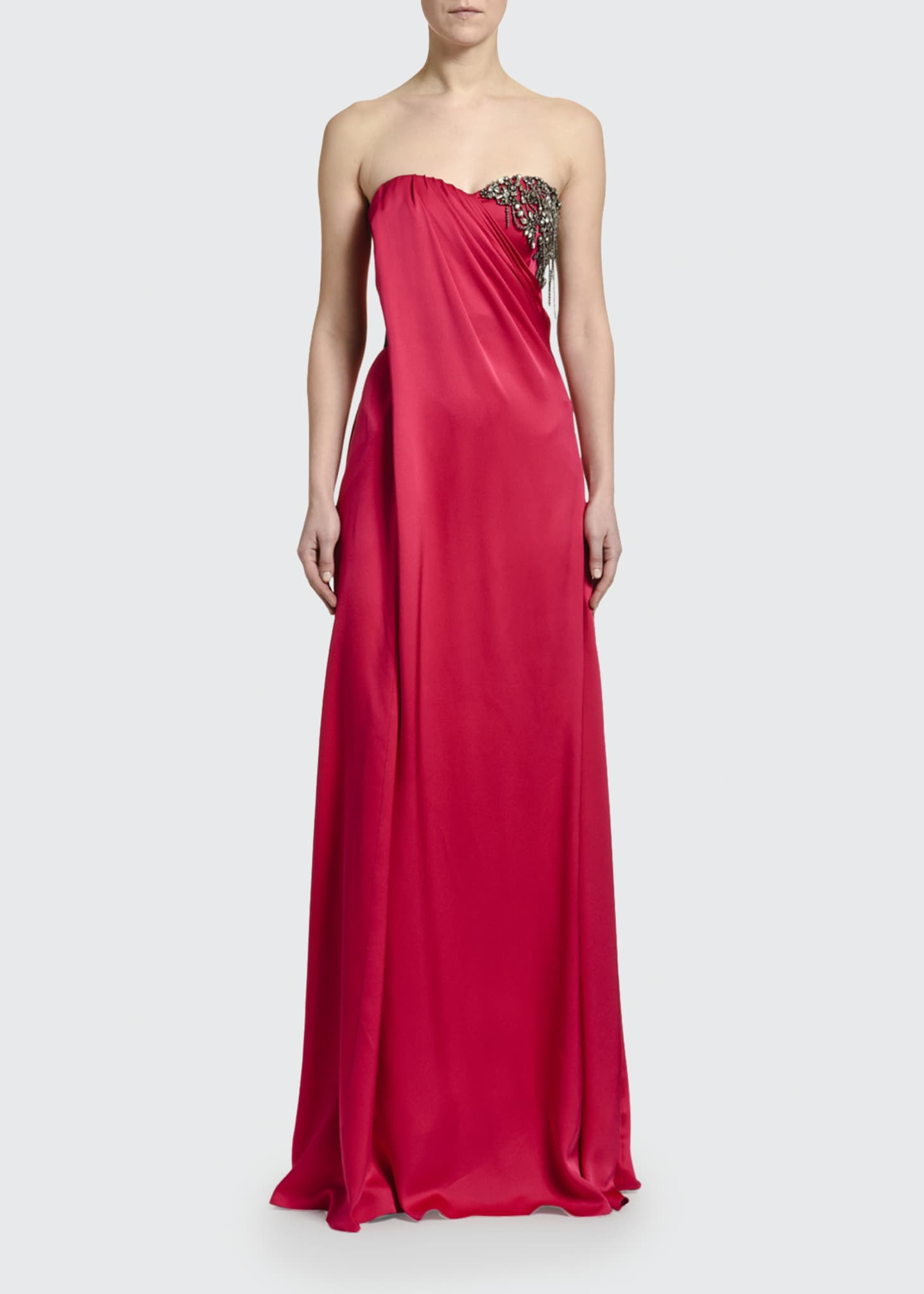 Image 3 of 3: Strapless Silk Embroidered-Bust Gown