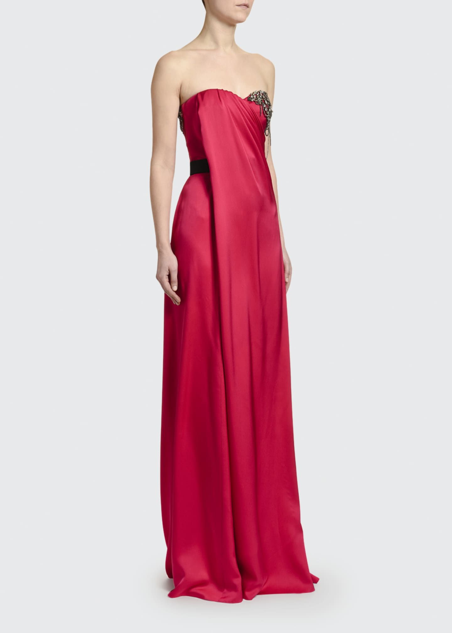 Image 1 of 3: Strapless Silk Embroidered-Bust Gown