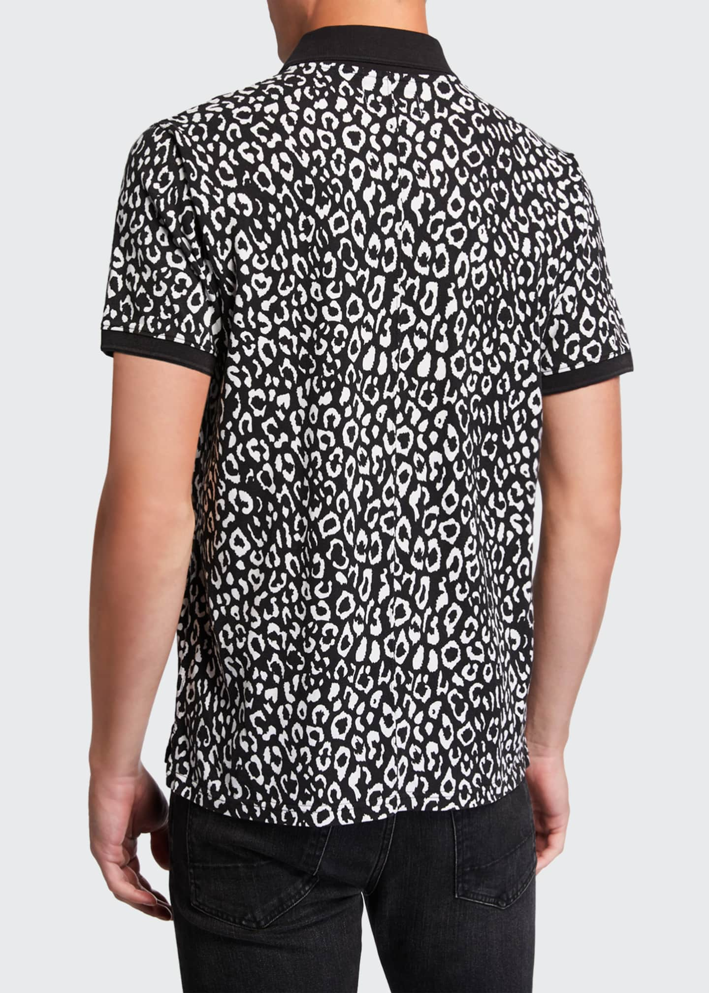 Image 2 of 2: Men's Leopard-Pattern Pique Polo Shirt