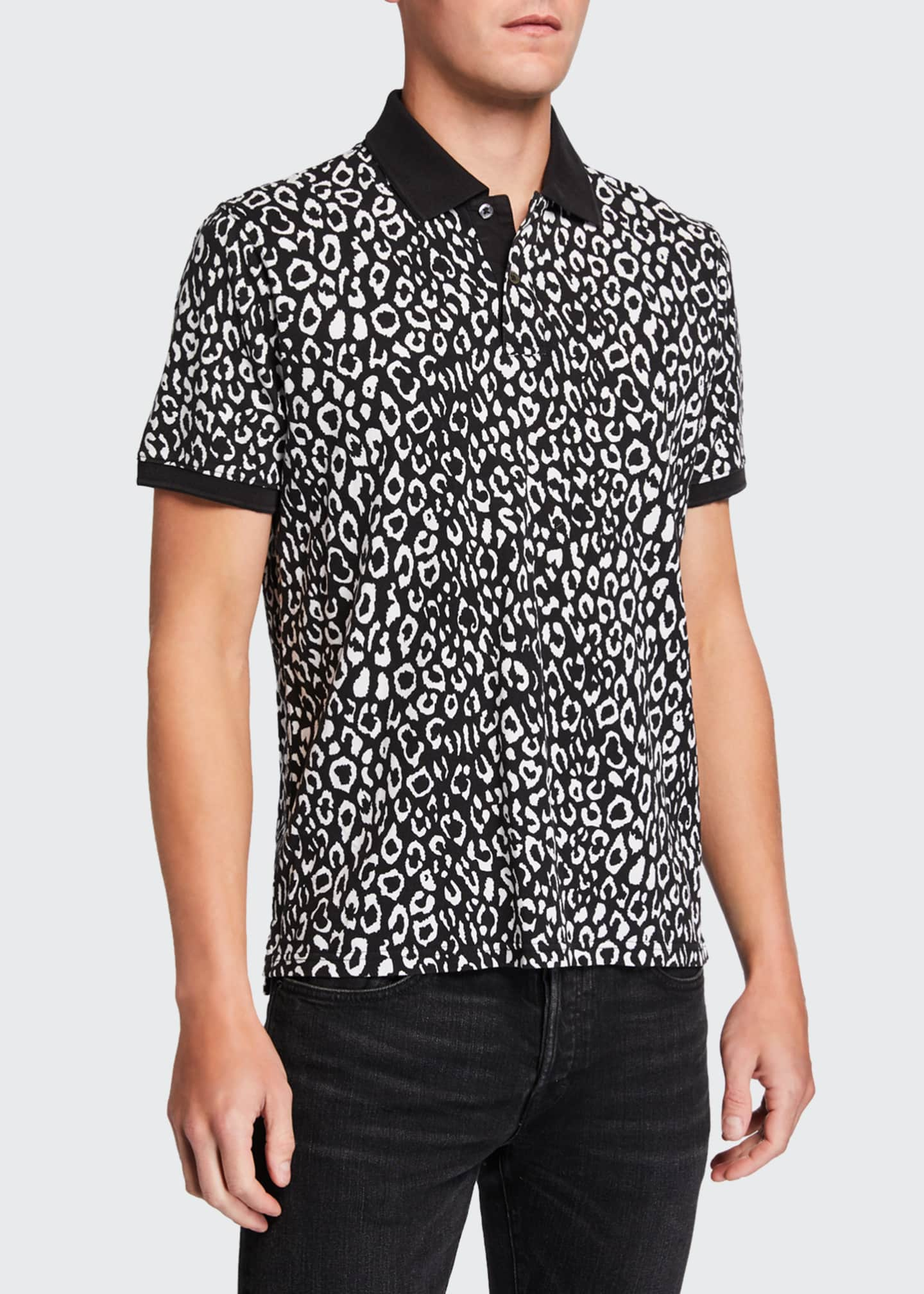 Image 1 of 2: Men's Leopard-Pattern Pique Polo Shirt