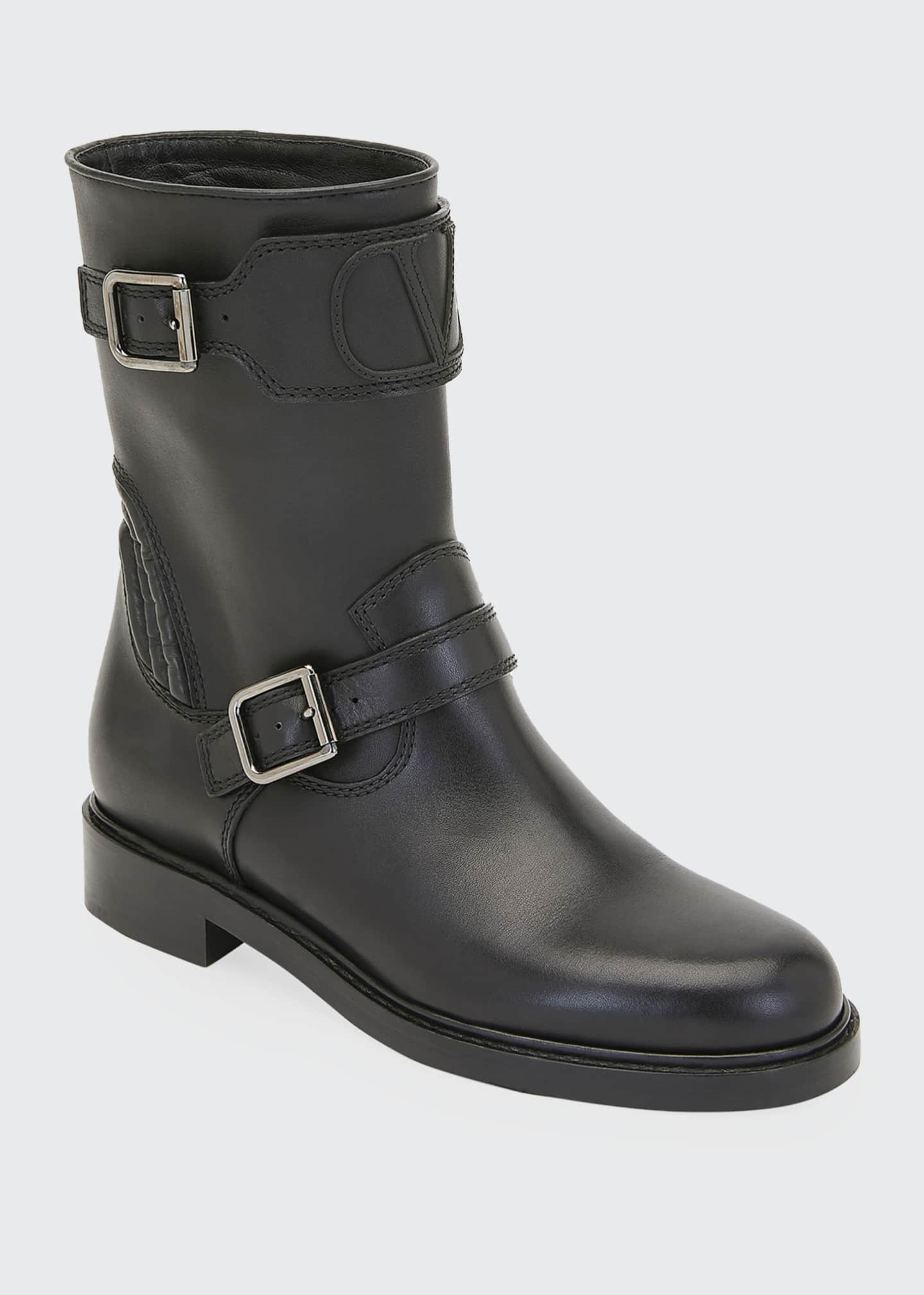Image 2 of 3: Biker Smooth Two-Buckle Boots