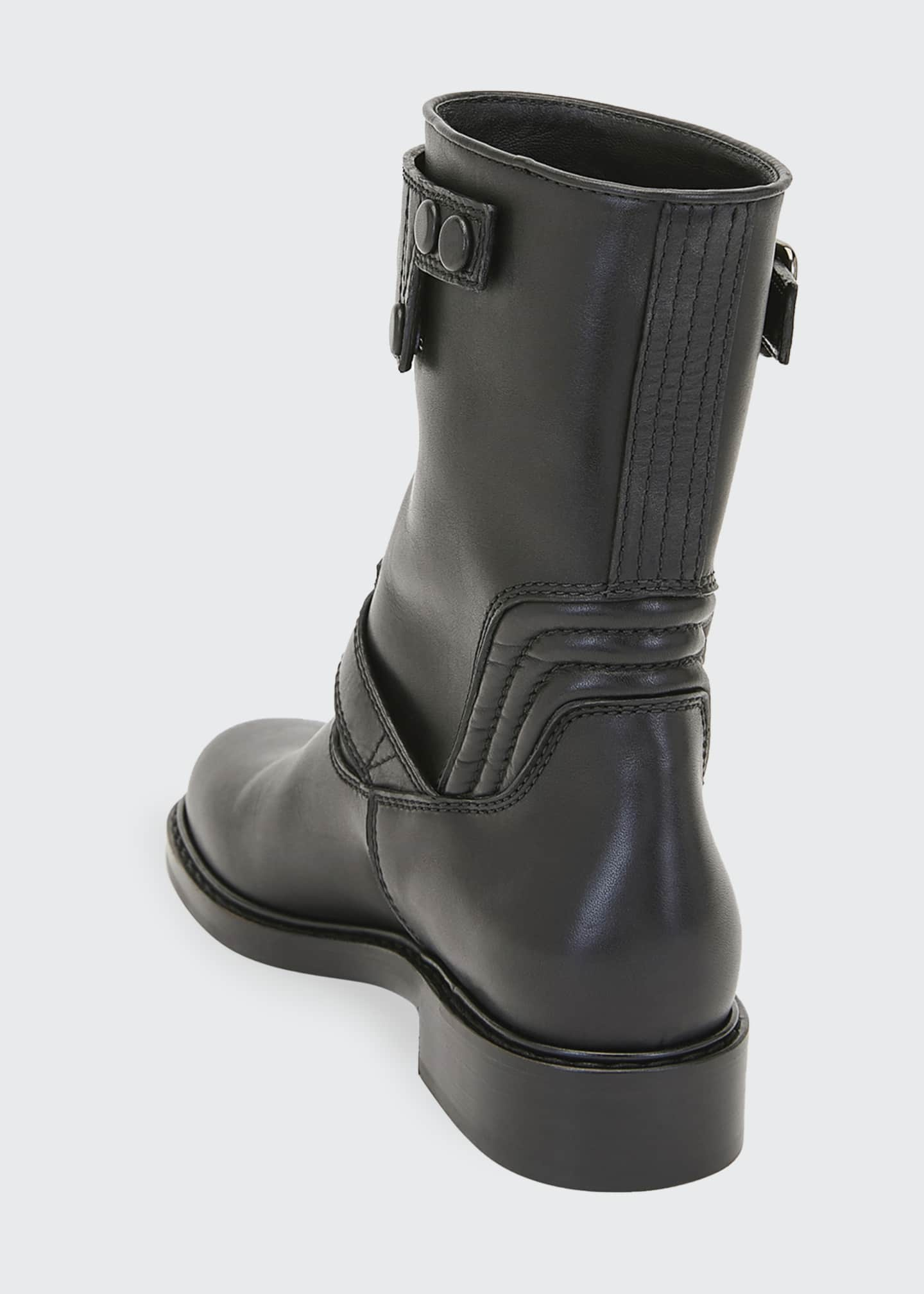 Image 3 of 3: Biker Smooth Two-Buckle Boots