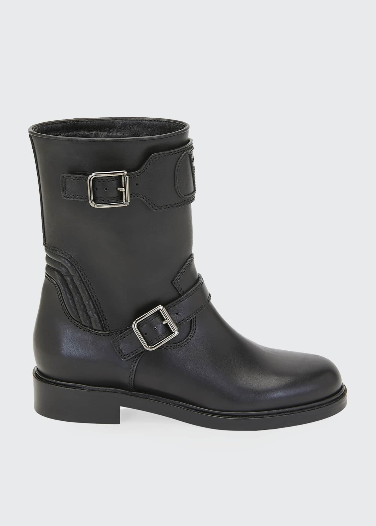 Image 1 of 3: Biker Smooth Two-Buckle Boots
