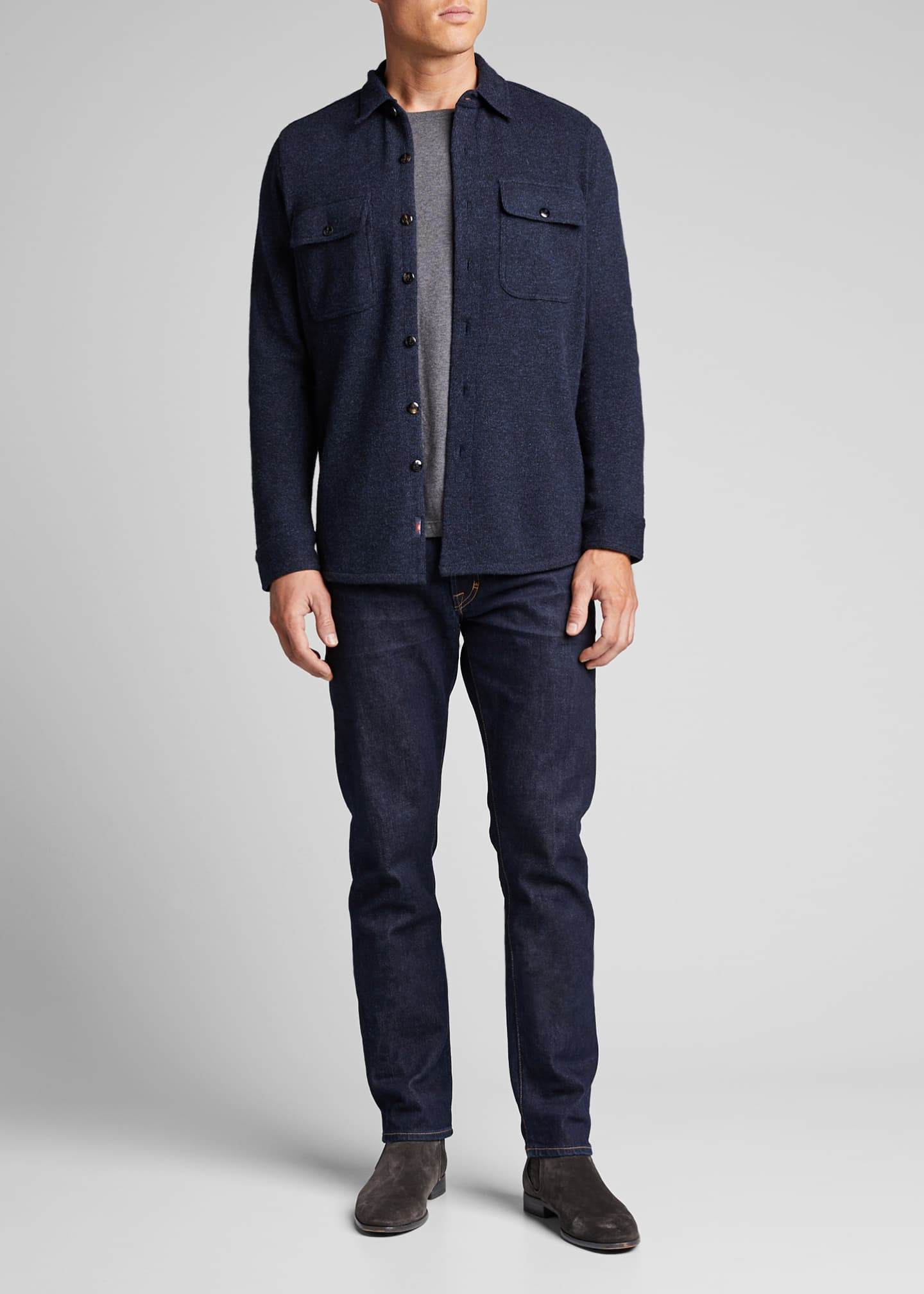 Faherty Men's Felted Wool Button-Front Cardigan