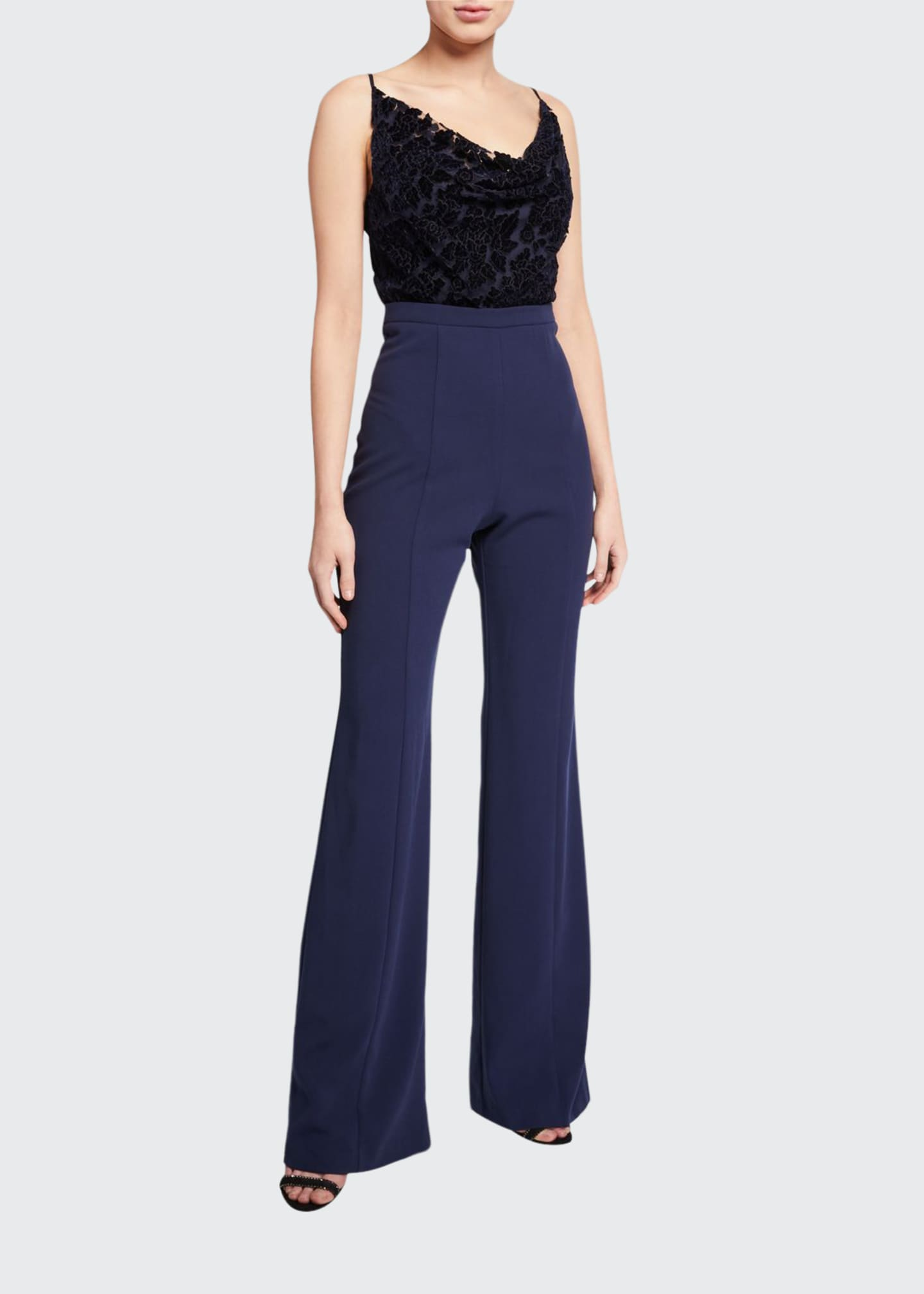 Image 1 of 2: Salem Cowl-Neck Velvet Top Spaghetti-Strap Jumpsuit