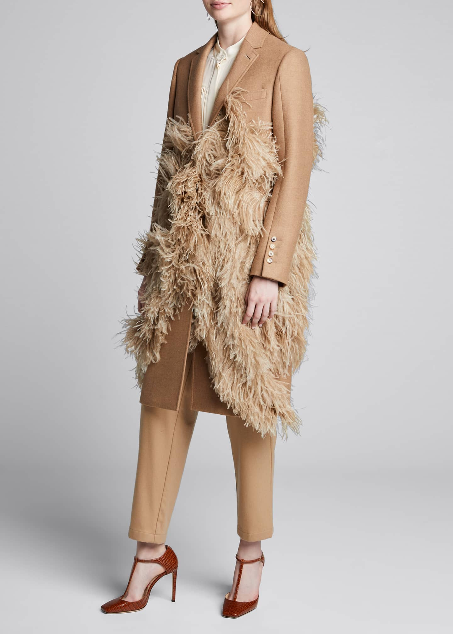 Burberry Feather-Trim Camel Hair Coat