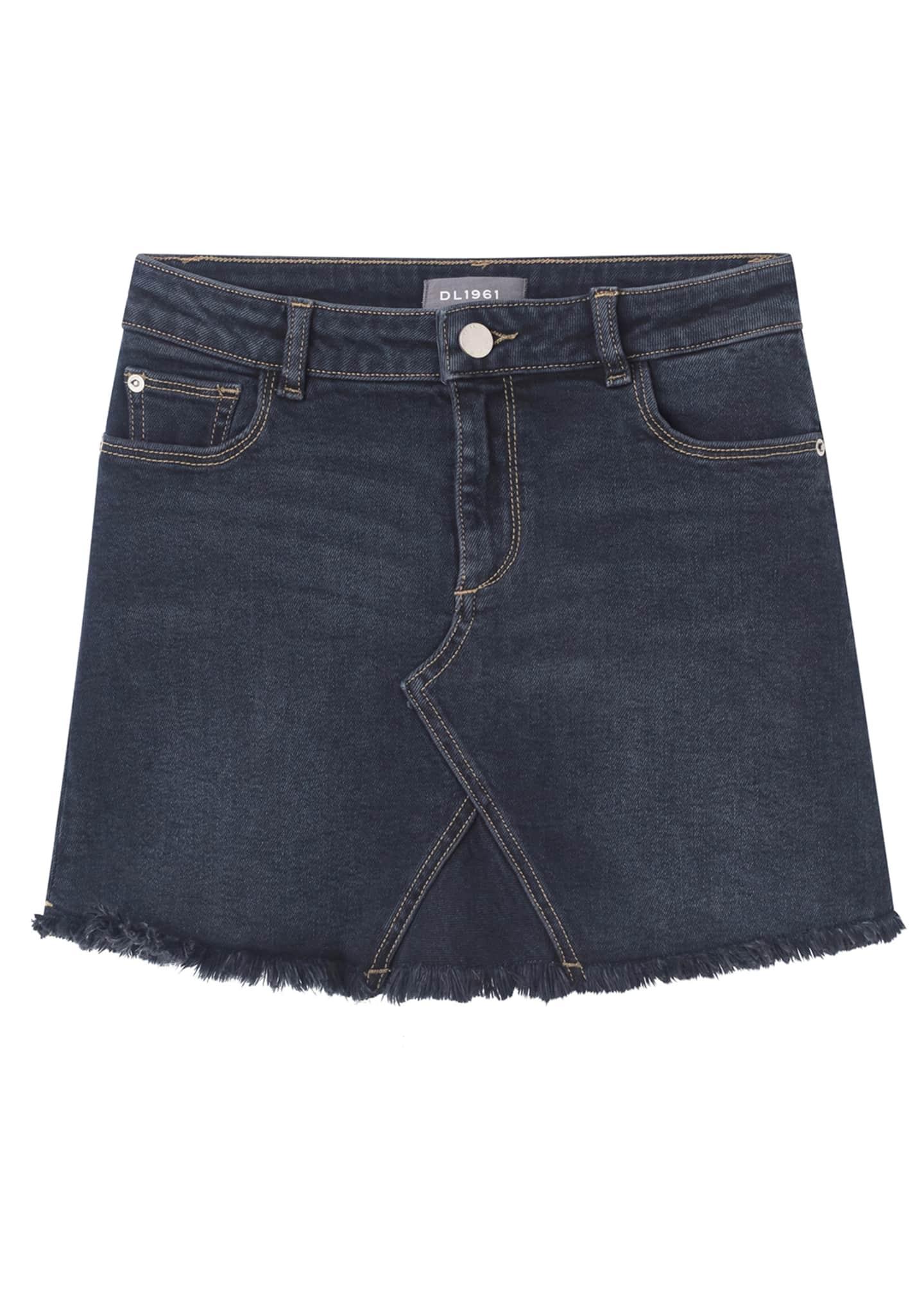 DL 1961 Jenny Raw Edge Denim Skirt, Size
