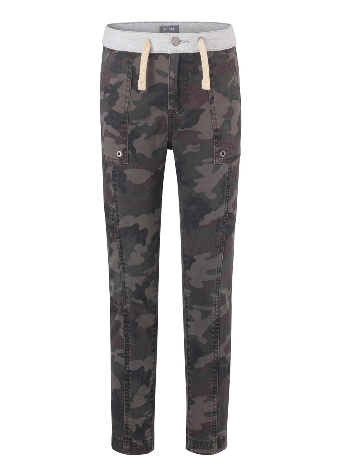 DL 1961 Boys' William Camo-Print Track Chino Pants,
