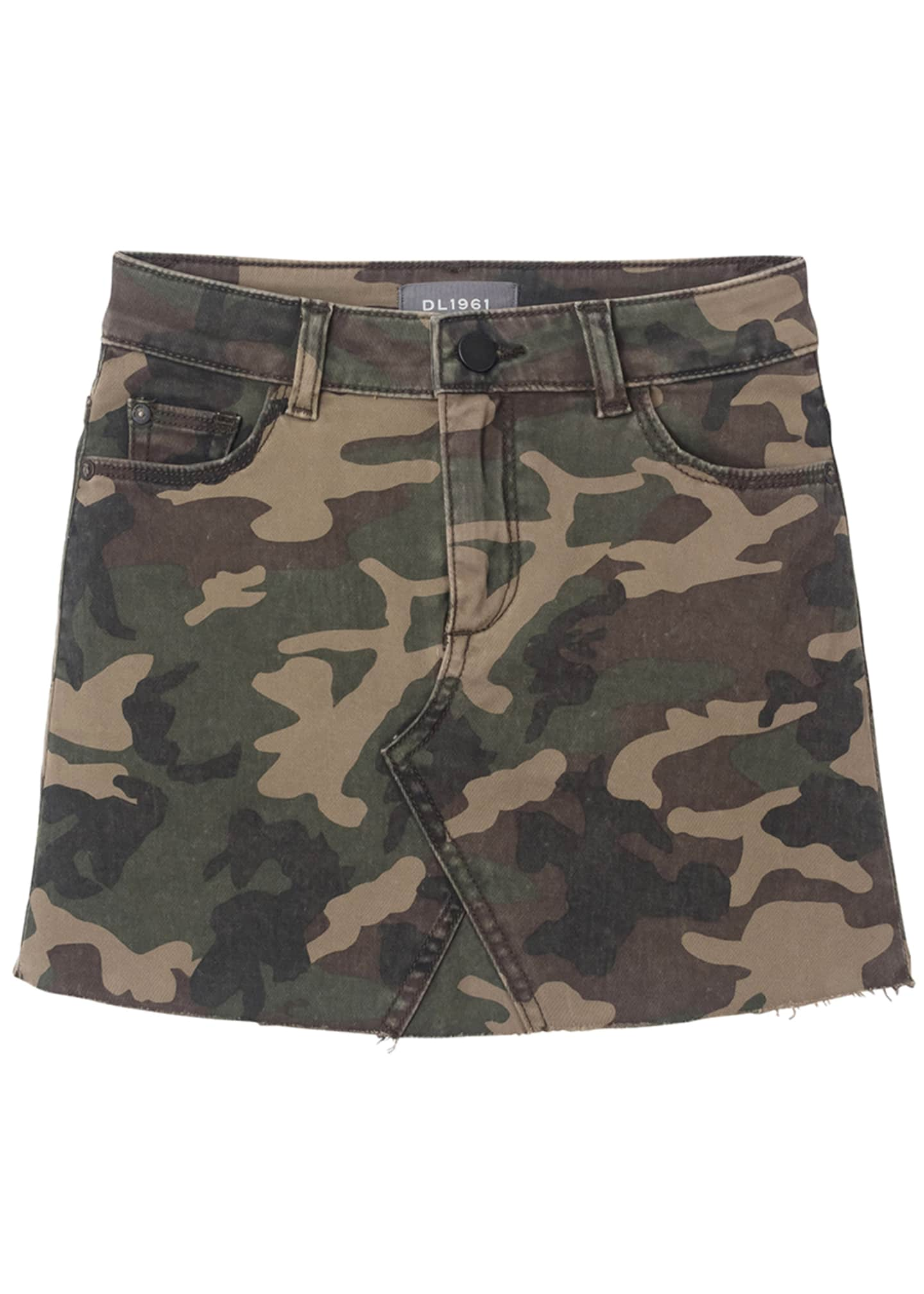 DL 1961 Jenny Raw Edge Camo Skirt, Size