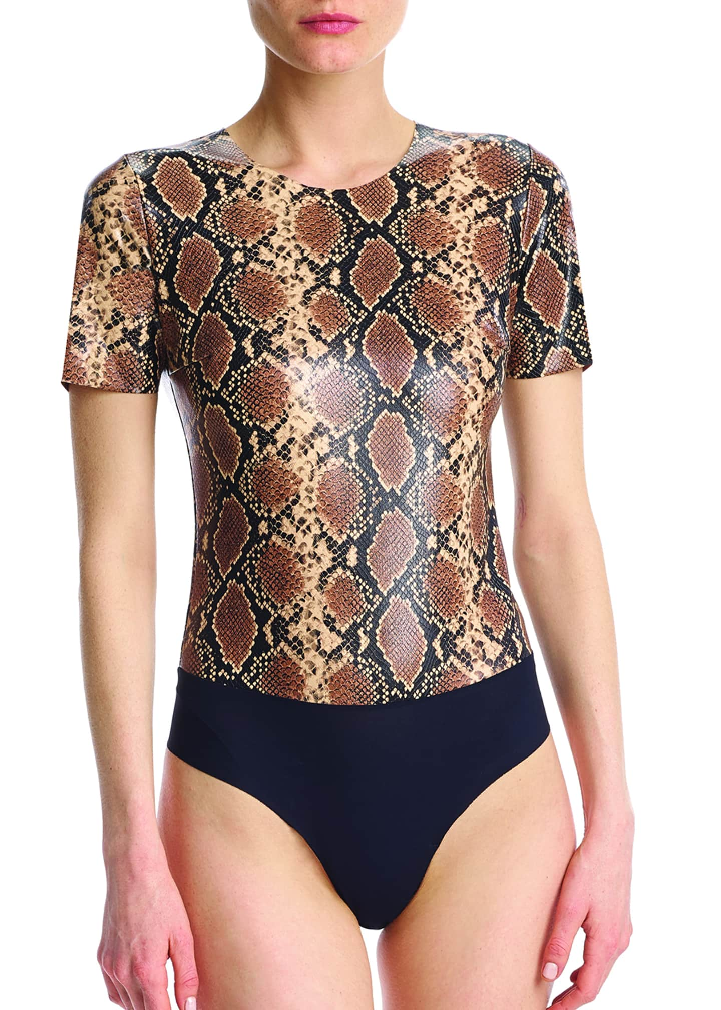 Commando Snake-Print Faux-Leather Bodysuit