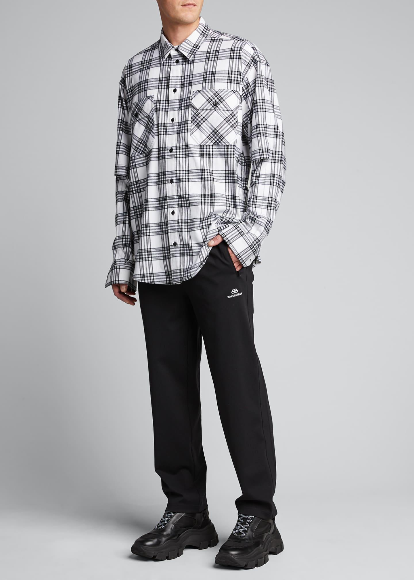 Balenciaga Men's Flannel Check Split-Sleeve Sport Shirt