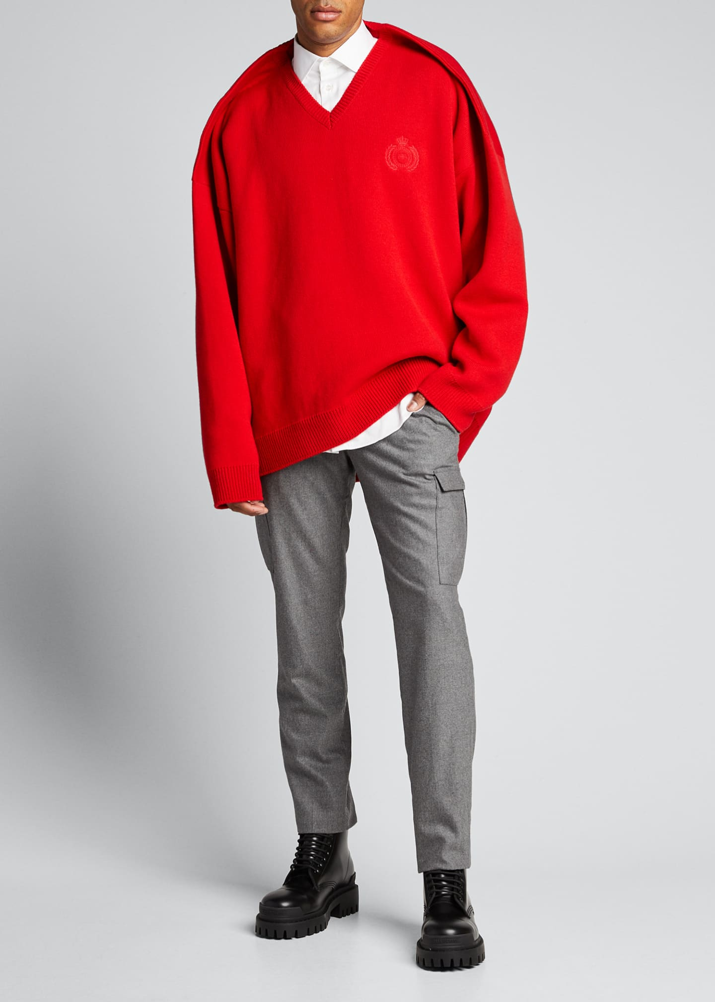 Balenciaga Men's V-Neck Pinched-Shoulder Oversized Sweater
