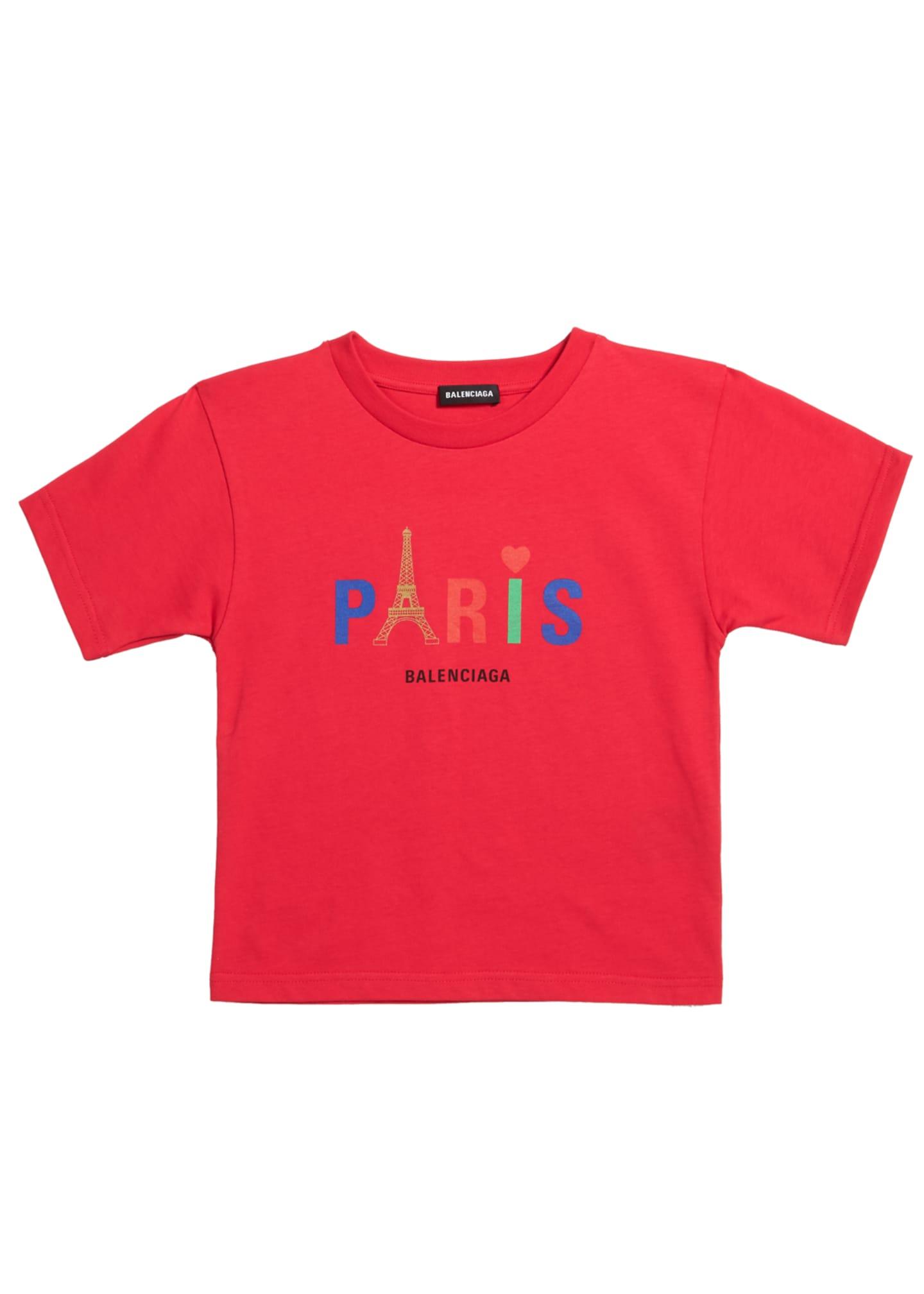 Balenciaga Kid's Paris Multicolor Icon Logo Short-Sleeve T-Shirt,