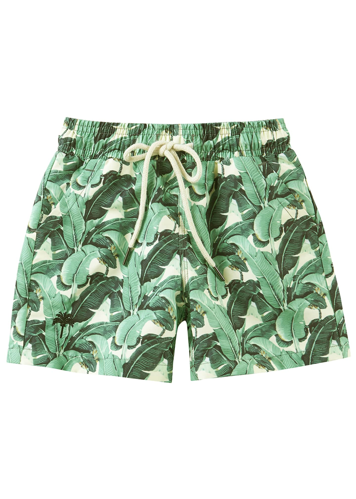 OAS Kid's Banana Leaf Print Drawstring Swim Trunks,