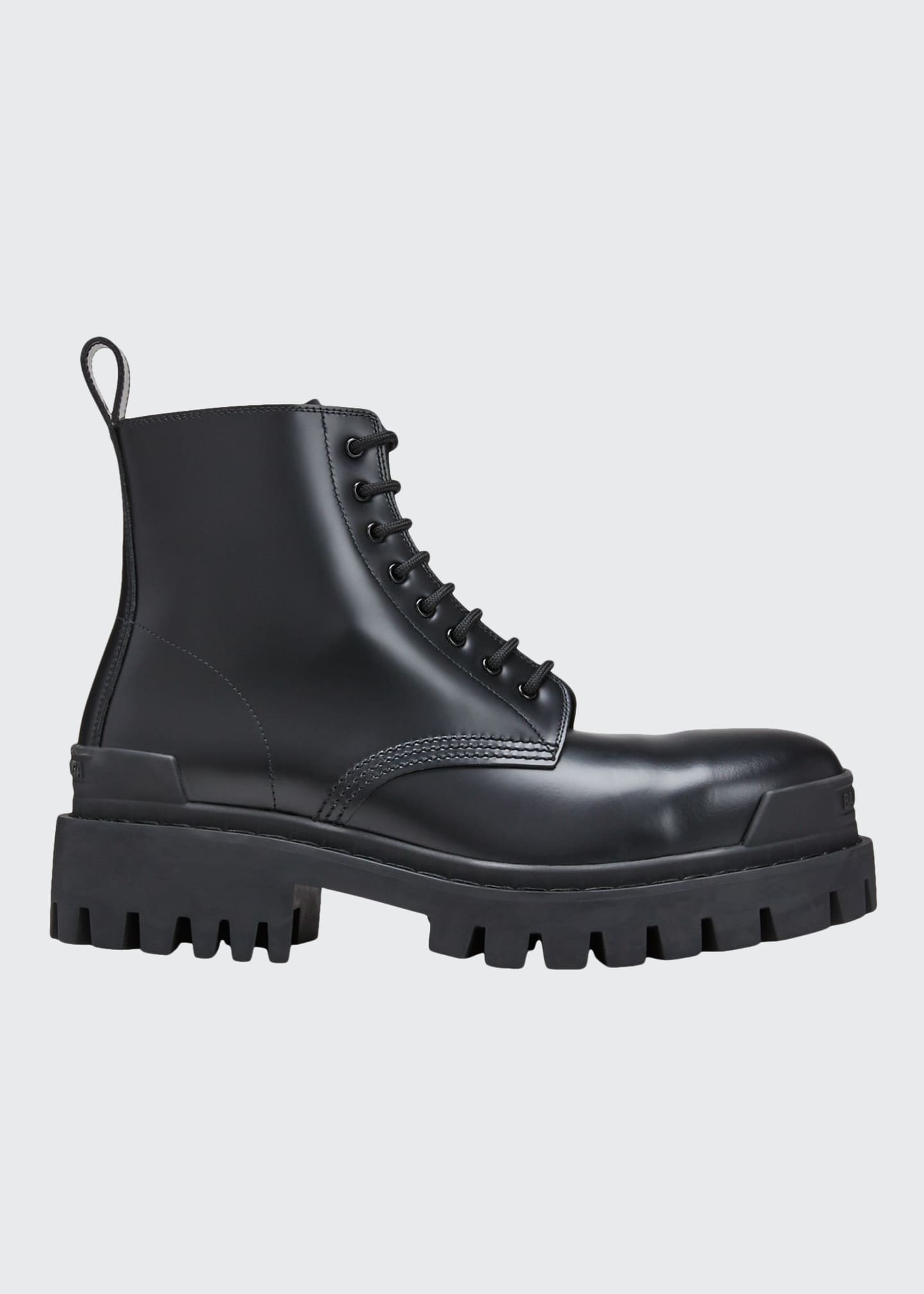 Balenciaga Men's Shrike Lug-Sole Leather Combat Boots