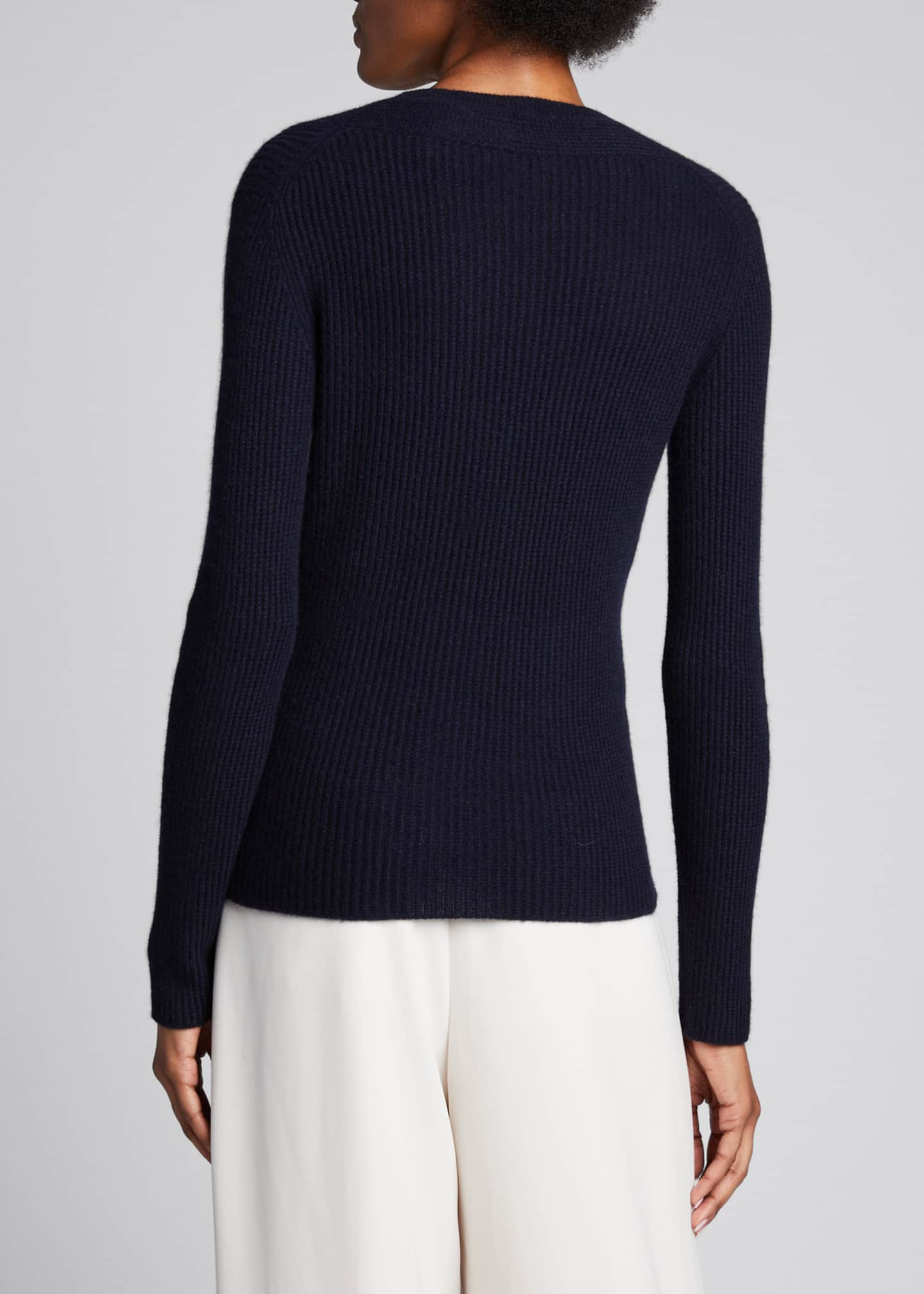 Image 2 of 5: Cashmere V-Neck Mini Cable Knit Sweater