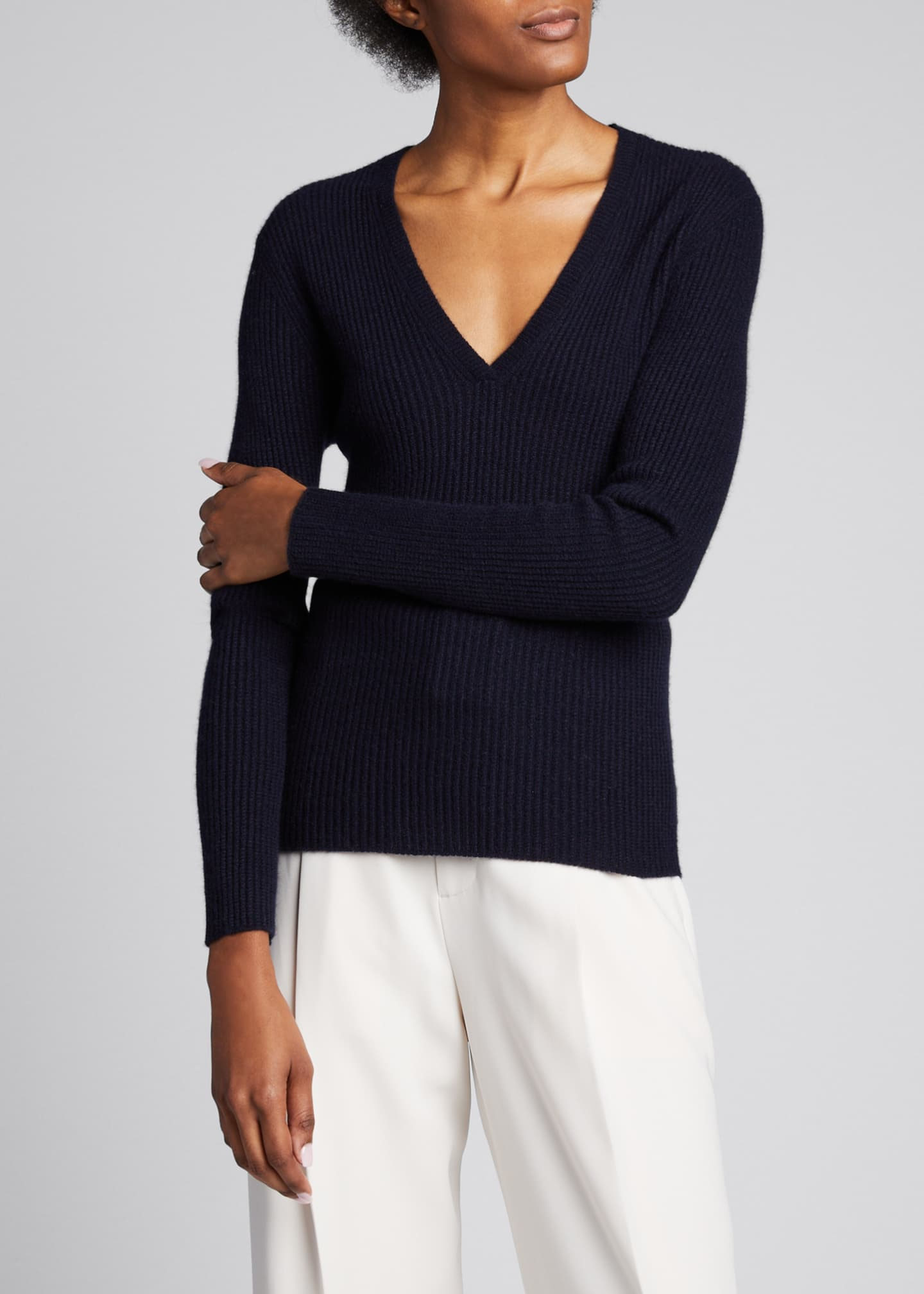 Image 3 of 5: Cashmere V-Neck Mini Cable Knit Sweater