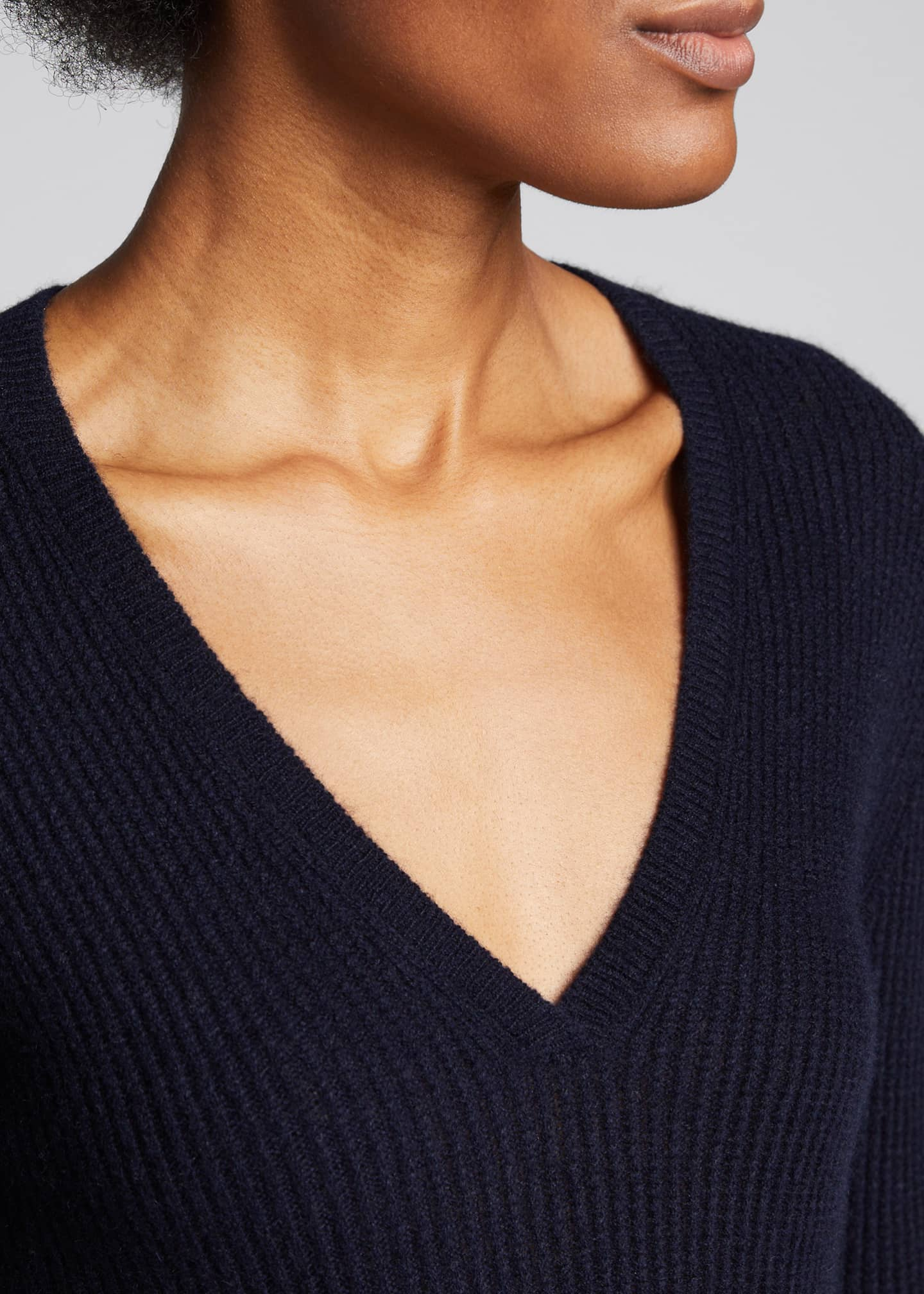 Image 4 of 5: Cashmere V-Neck Mini Cable Knit Sweater