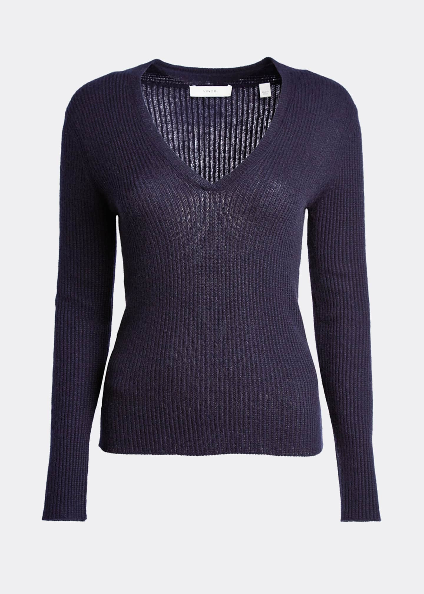 Image 5 of 5: Cashmere V-Neck Mini Cable Knit Sweater