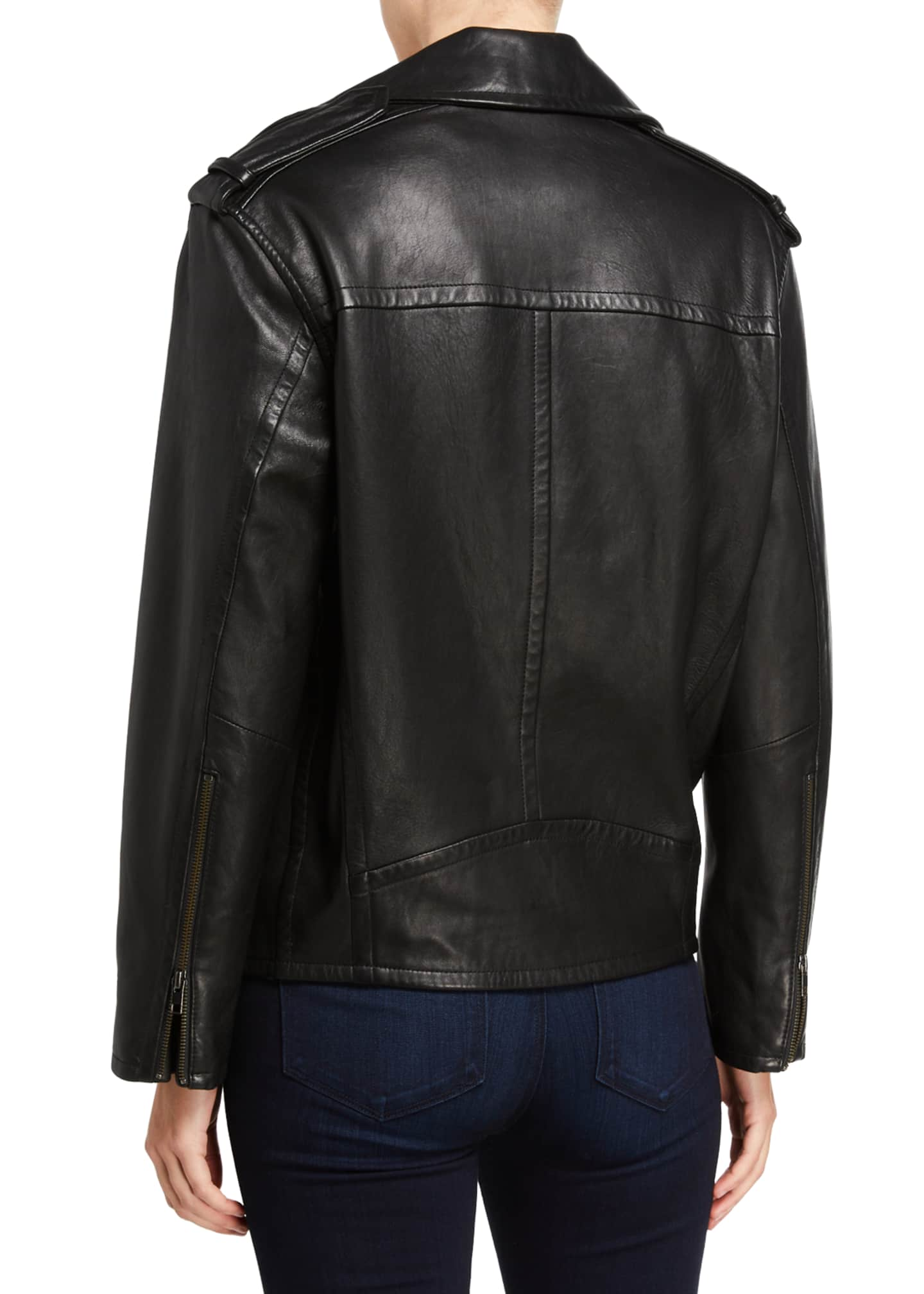 Image 3 of 3: Leather Moto Jacket