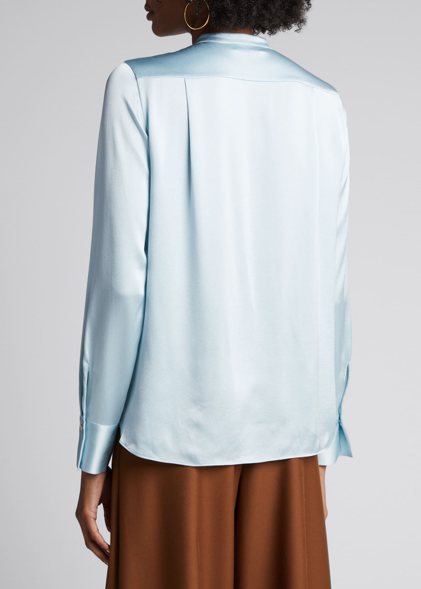 Image 2 of 5: Slim Fitted Band Collar Button-Down Silk Shirt