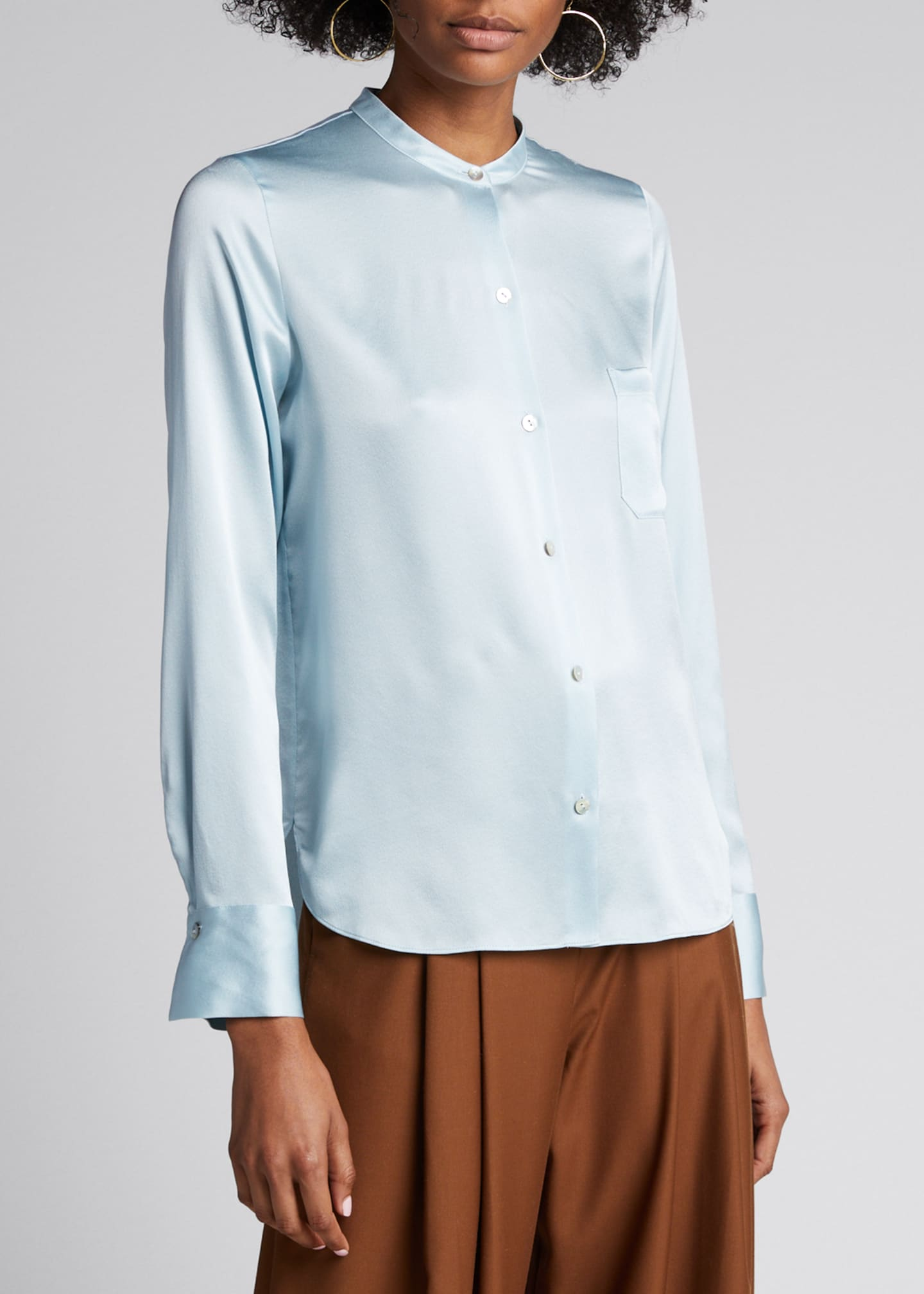Image 3 of 5: Slim Fitted Band Collar Button-Down Silk Shirt